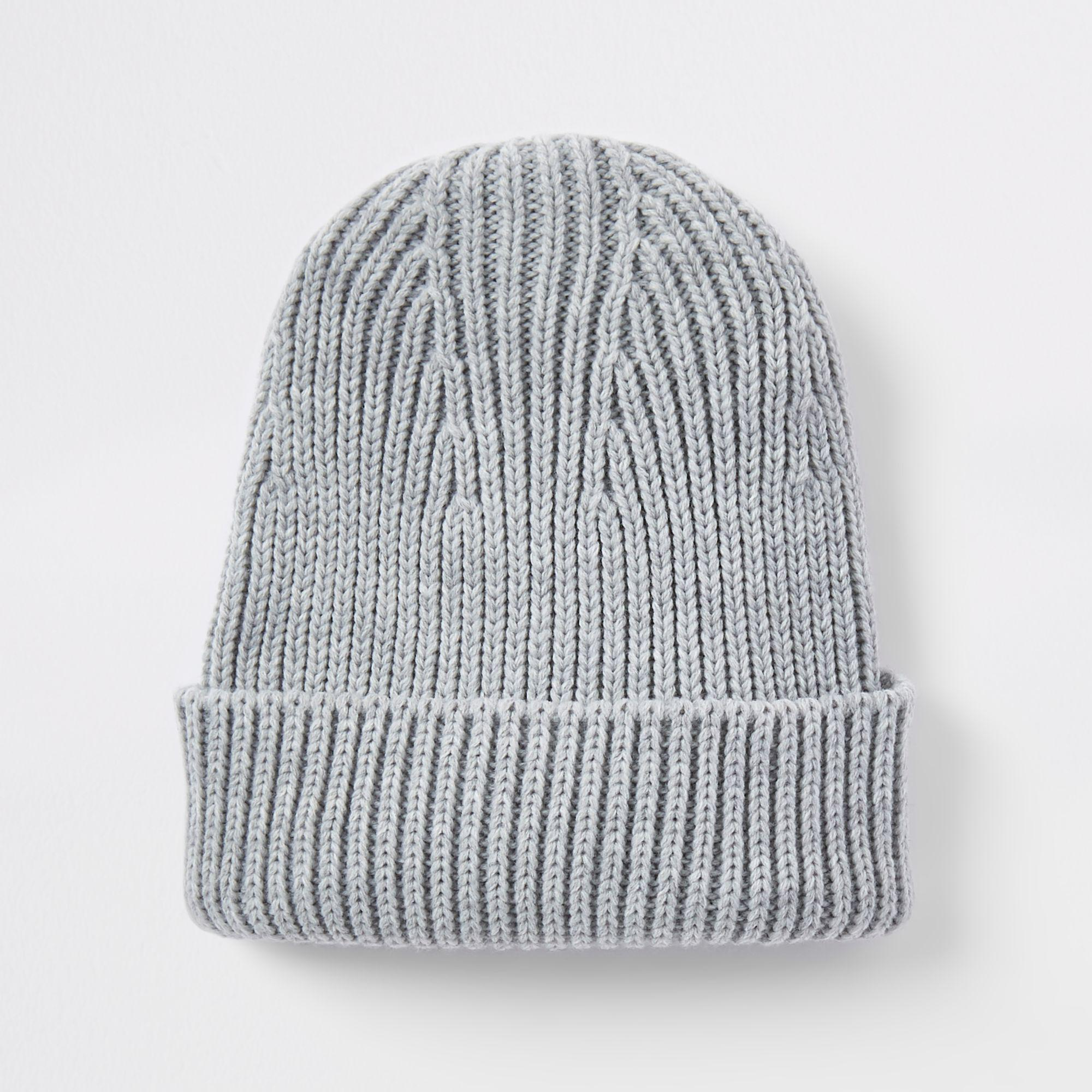 207e4e8974a Lyst - River Island Fisherman Knit Beanie Hat in Gray for Men