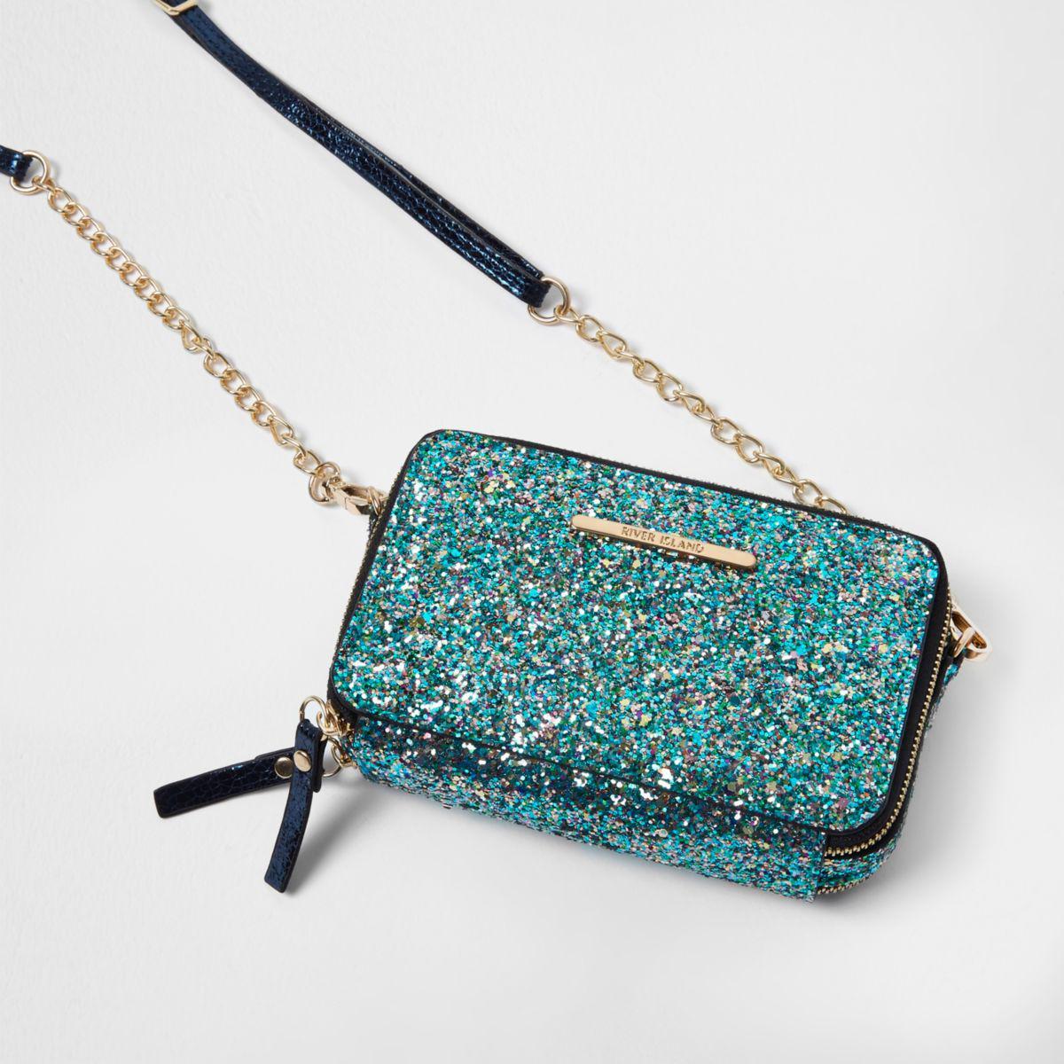 Lyst - River Island Blue Glitter Cross Body Chain Bag Blue Glitter Cross Body Chain Bag In Blue