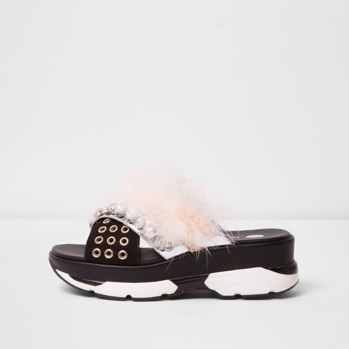 c3384754b03b Lyst - River Island Nude Fluffy Embellished Sporty Sandals