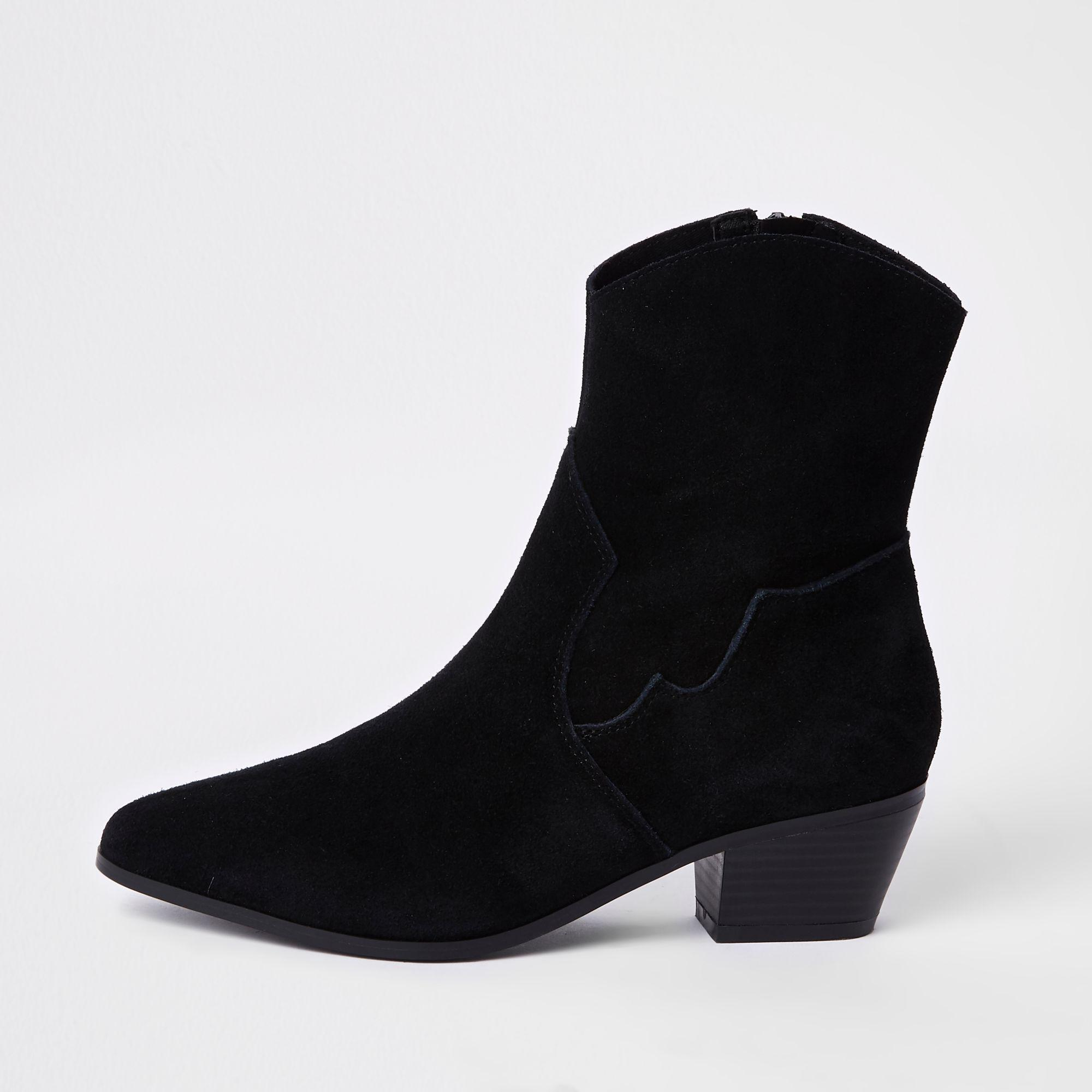 db6e5ae17cfc Lyst - River Island Black Suede Western Ankle Boots in Black