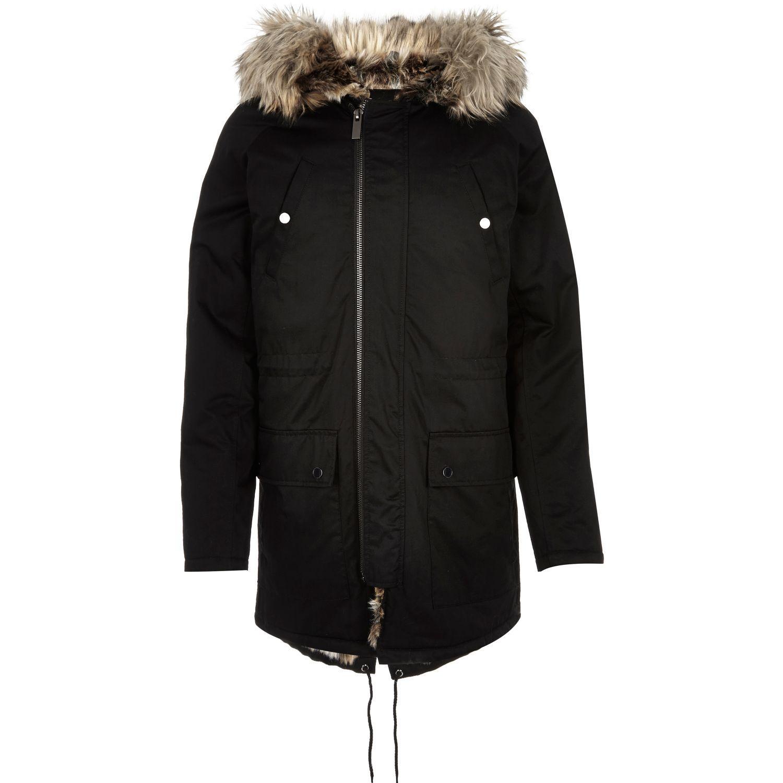 River Island Black Faux Fur Trim Parka Jacket In Black For