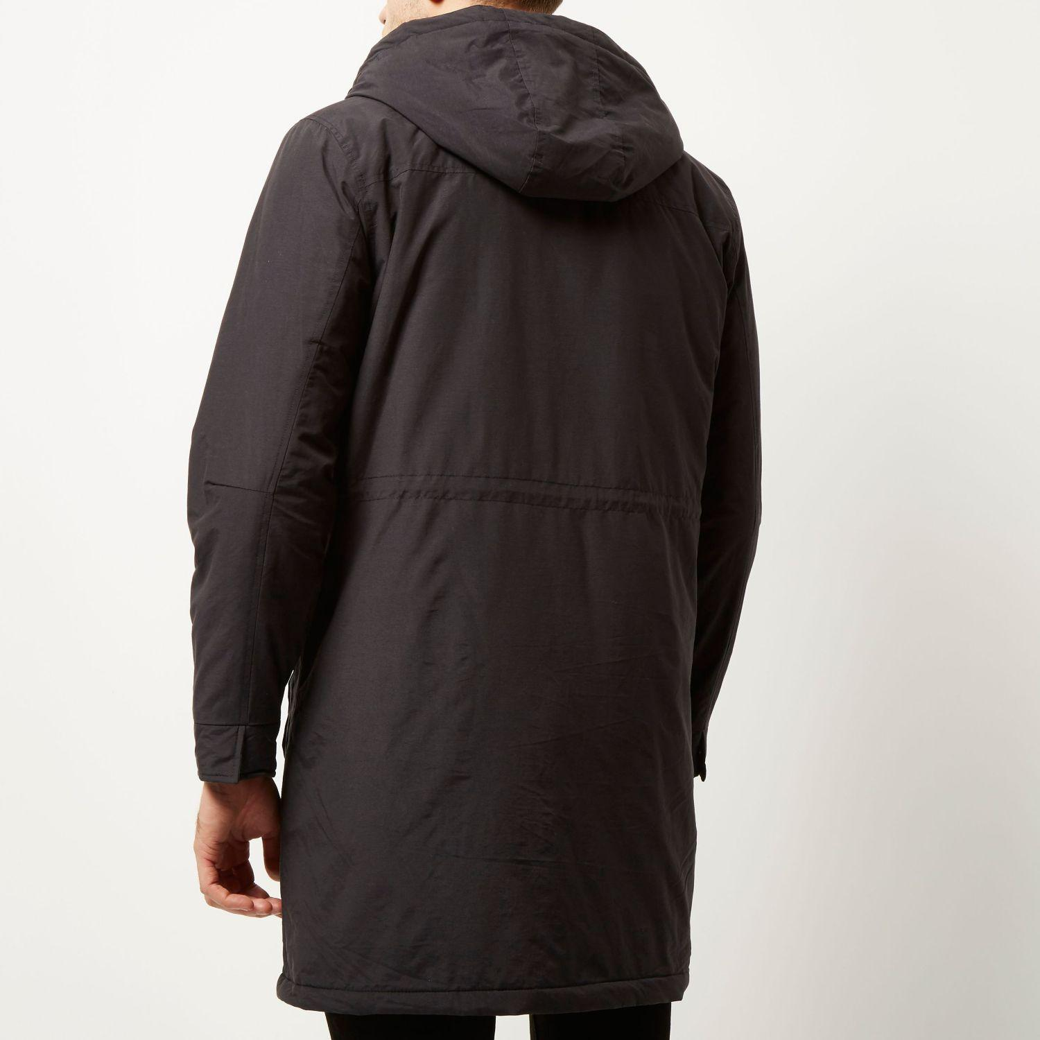 River Island Navy Padded Hooded Winter Coat In Blue For