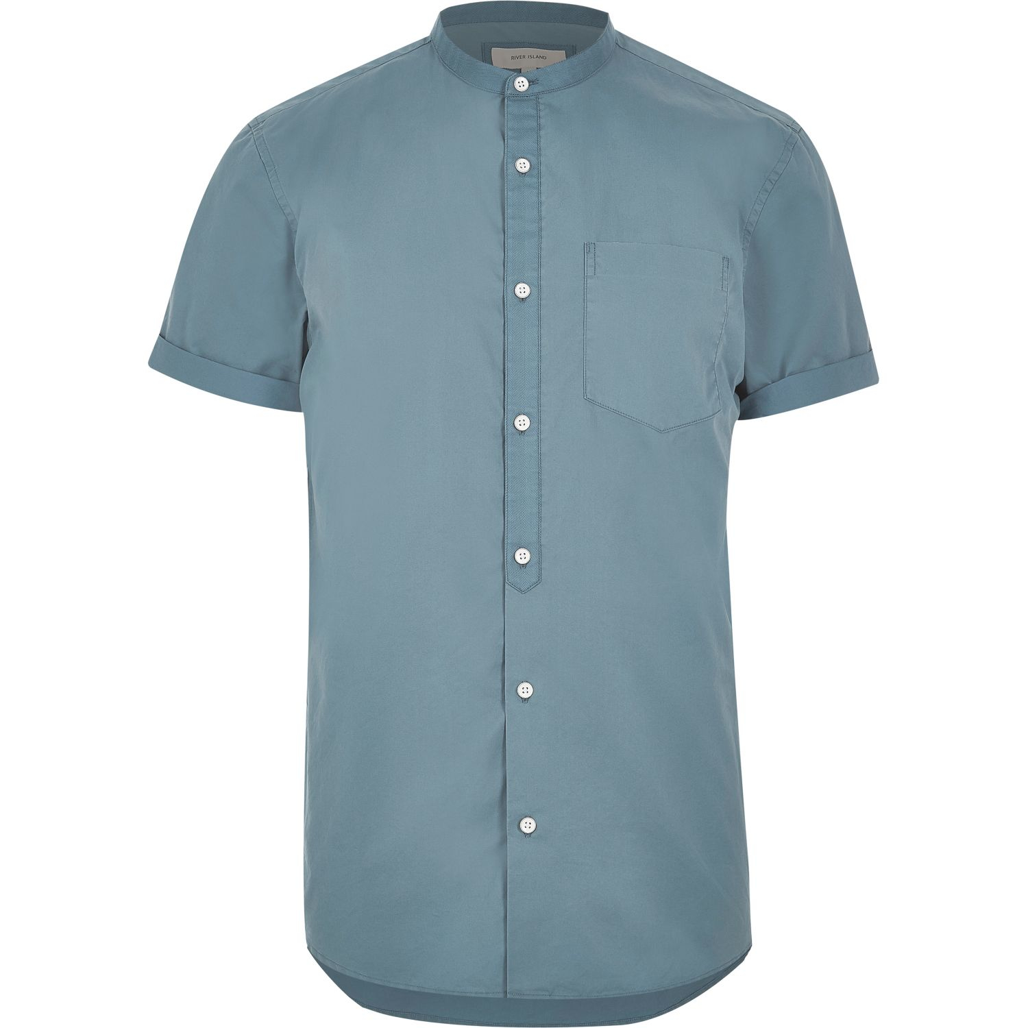 River island blue twill short sleeve grandad shirt in blue for Short sleeve grandad shirt