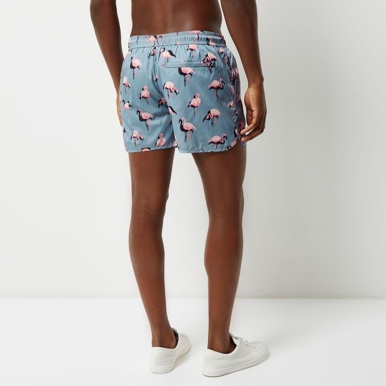 Lyst - River Island Blue Flamingo Print Runner Swim Shorts in Blue for Men