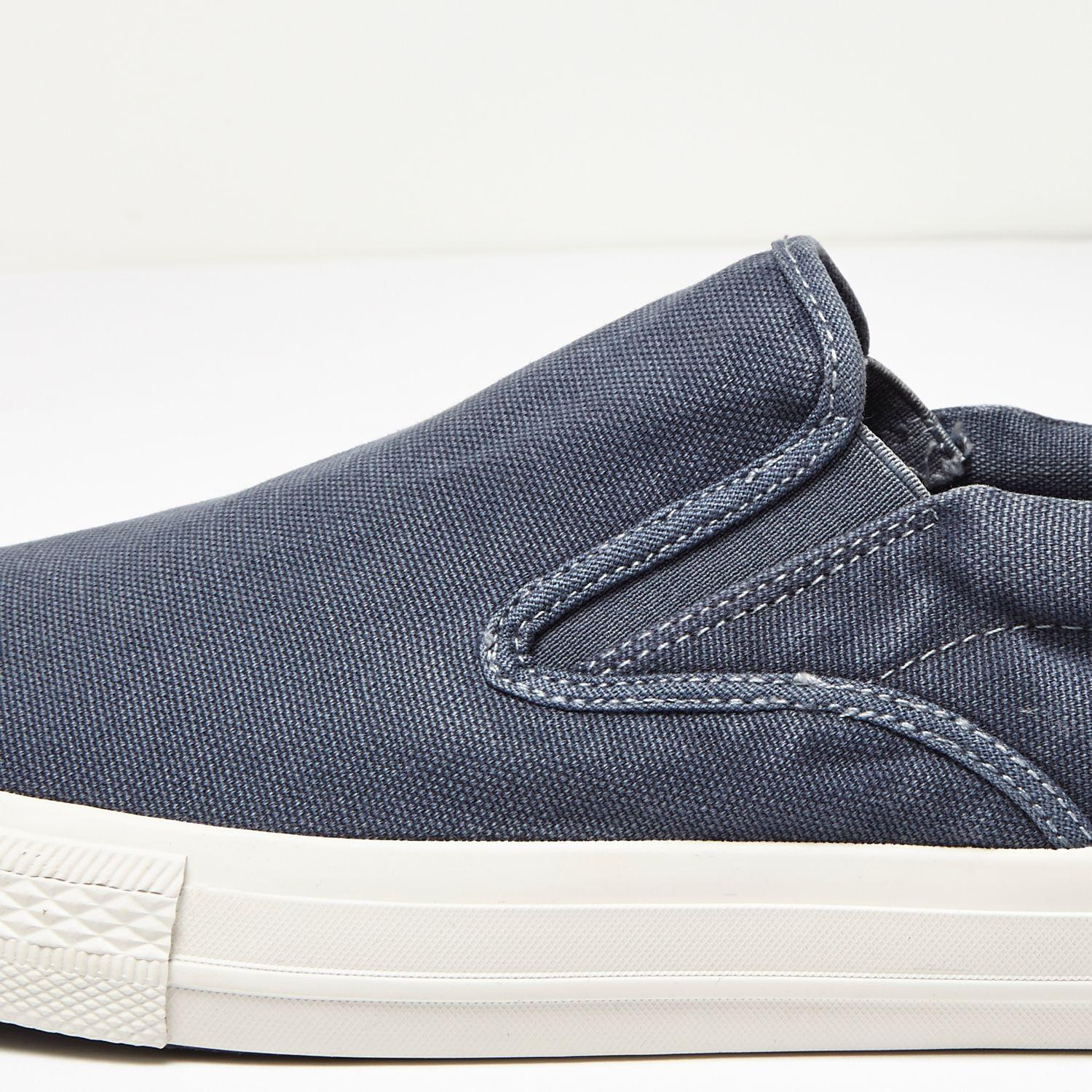 river island navy washed canvas plimsolls in brown for