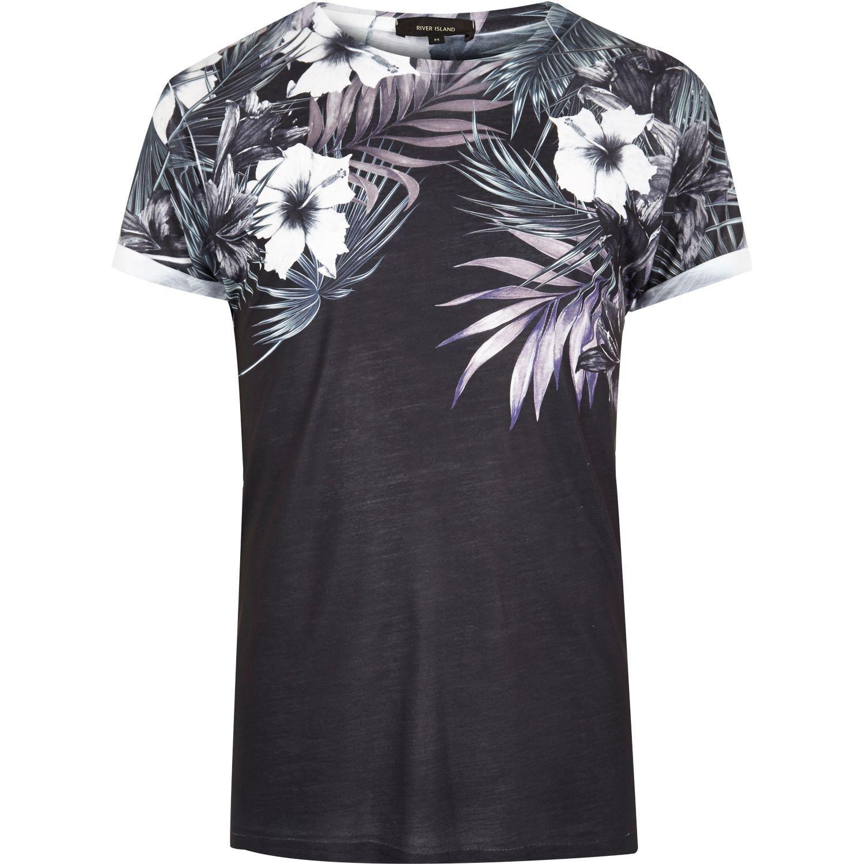 Lyst river island black floral shoulder print t shirt in for Floral mens t shirts