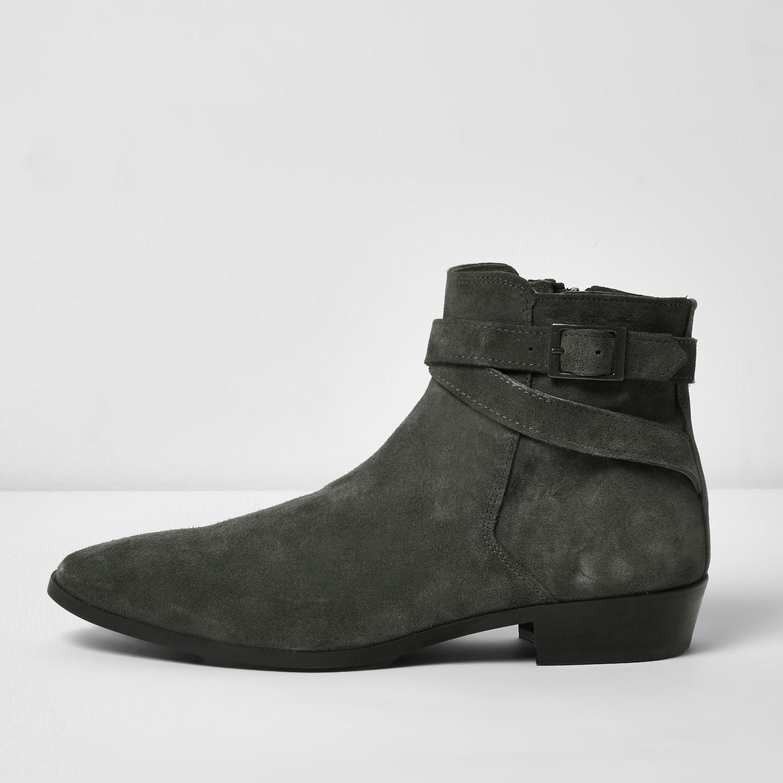 River Island Dark Grey Suede Chelsea Boots In Gray For Men