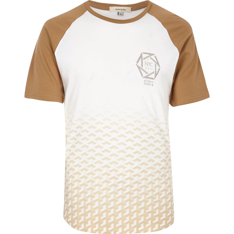 River Island White Camel Fade Raglan T Shirt In White For
