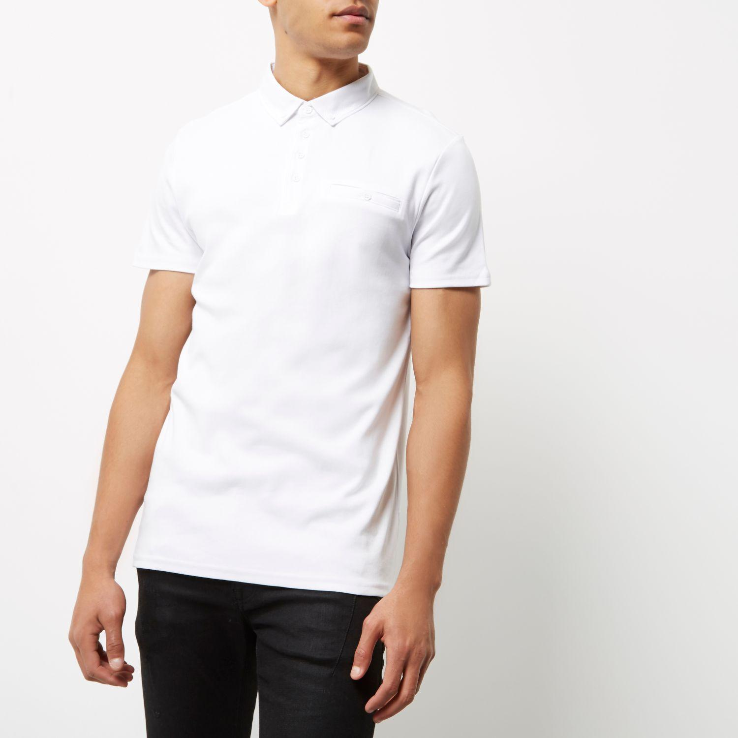 Lyst river island white button polo shirt in white for men for Bear river workwear shirts