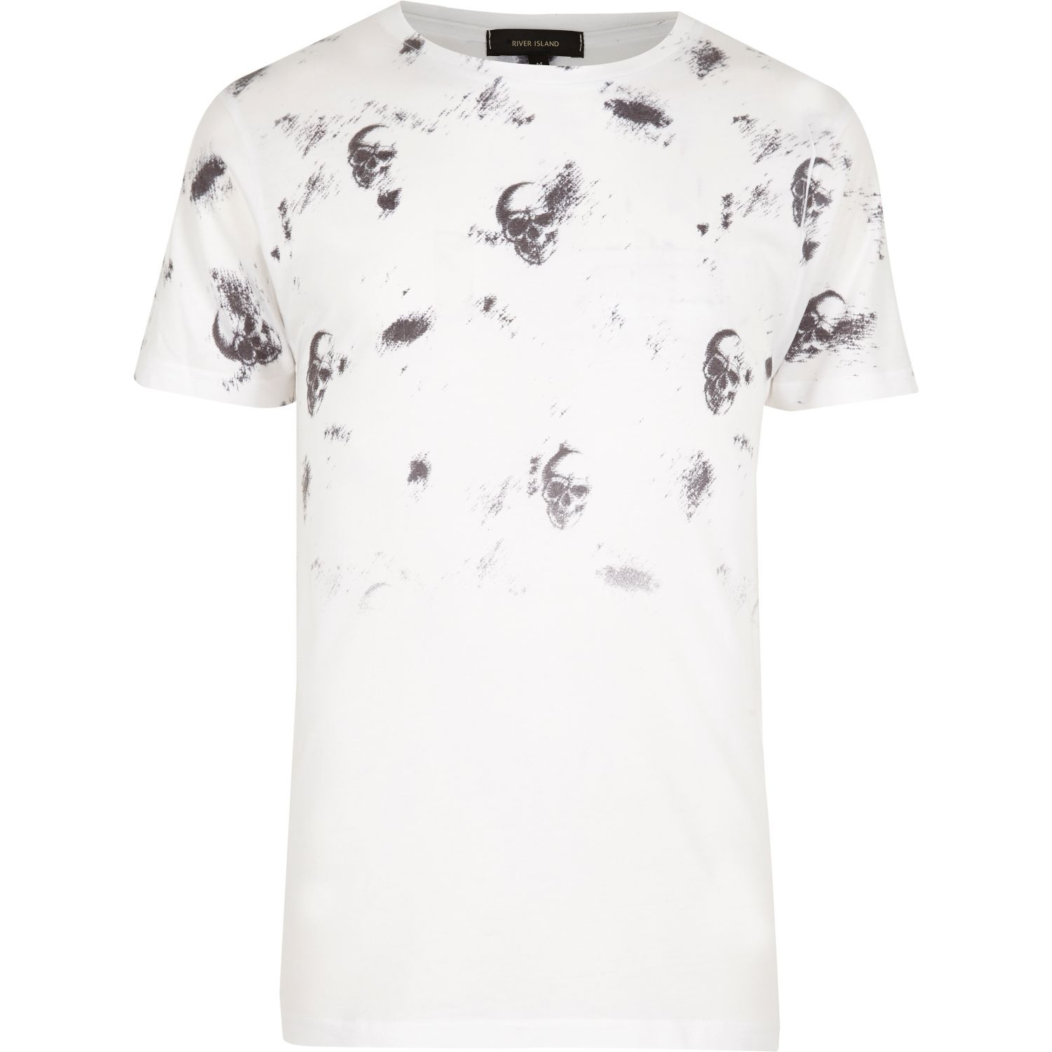 River island white faded skull print t shirt in white for for Faded color t shirts
