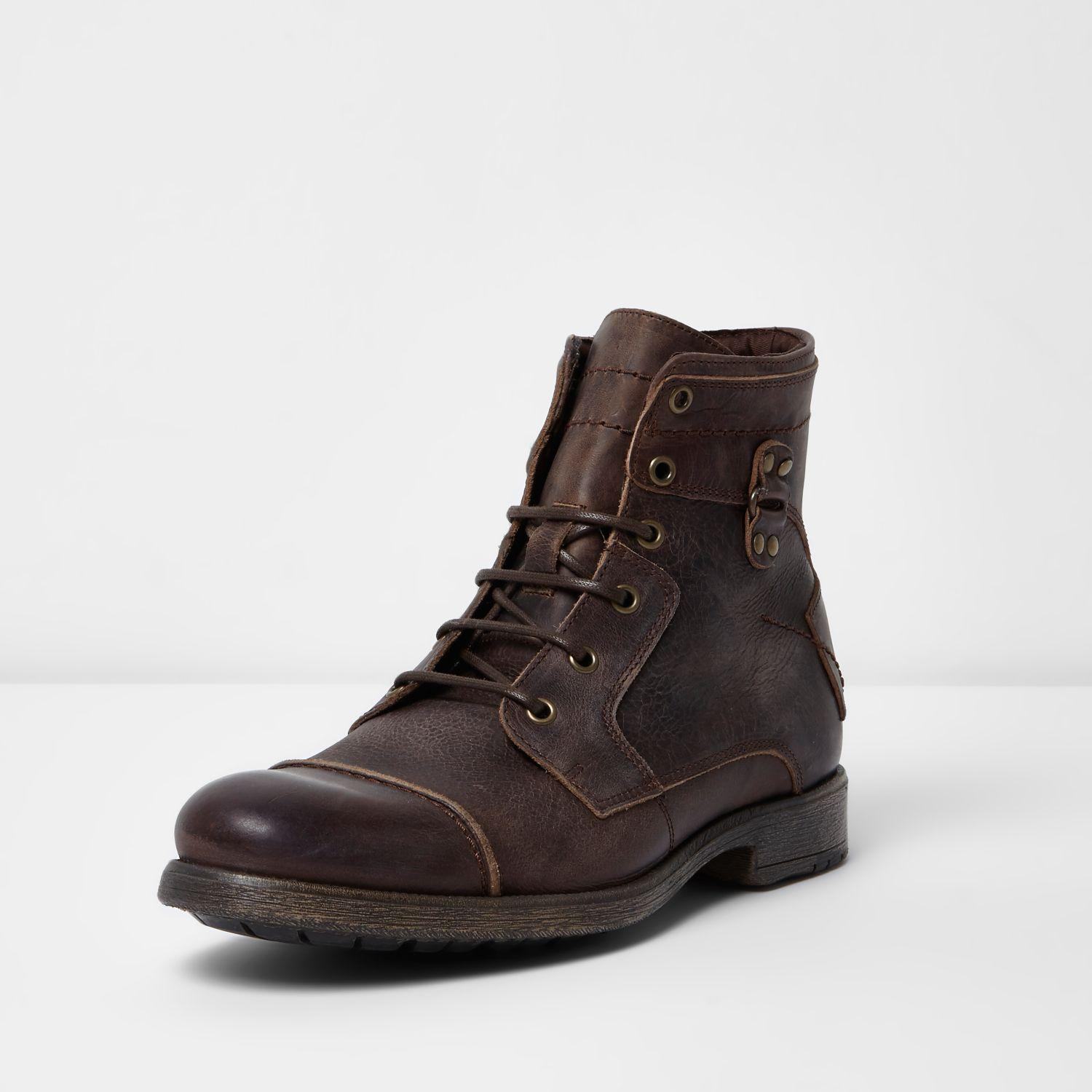 River Island Leather Military Boots In Brown