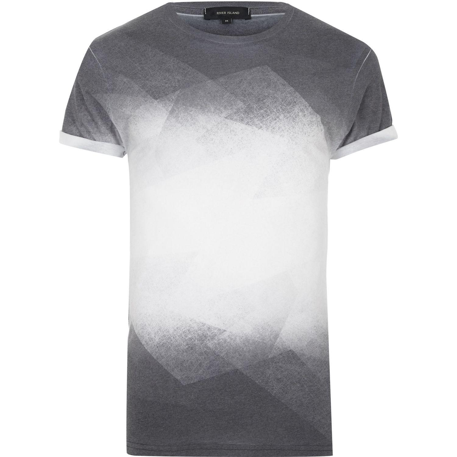 River island black faded print t shirt in black for men lyst for Faded color t shirts