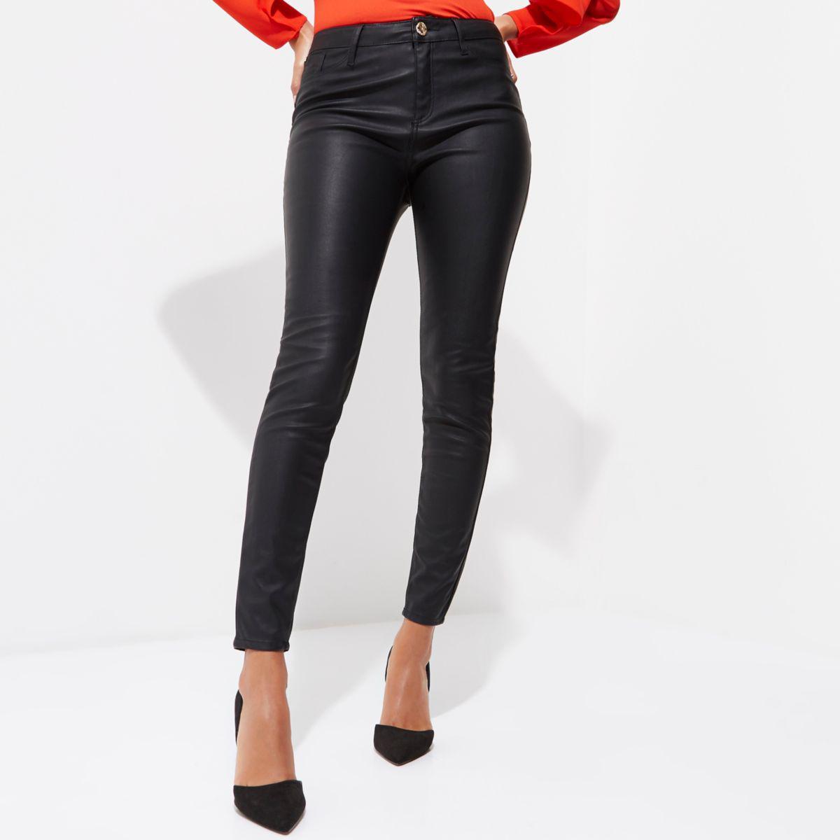 0e9de66753ba River Island Black Faux Leather Molly Skinny Fit Trousers Black Faux ...