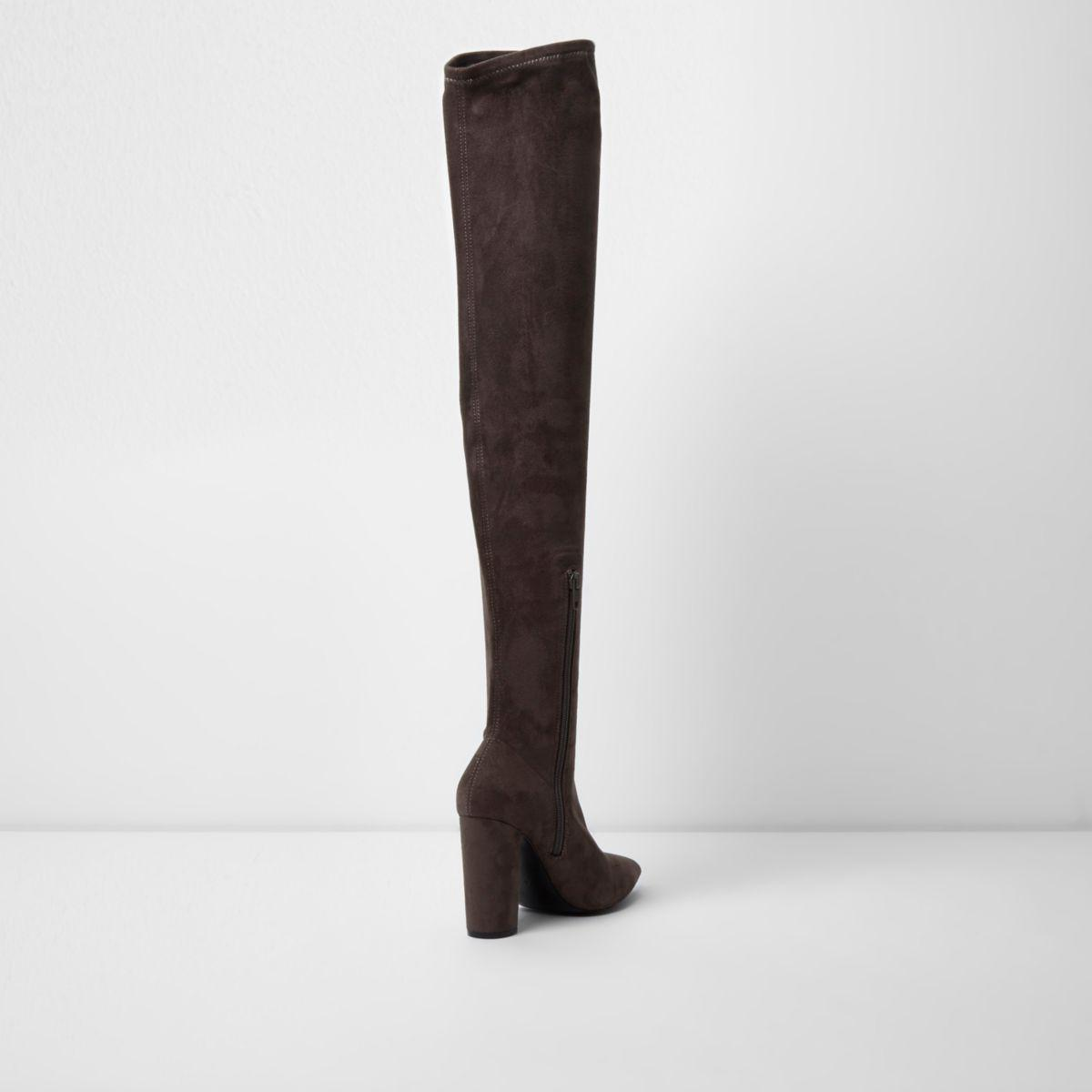 d5482602b0e Lyst - River Island Dark Grey Faux Suede Over The Knee Boots Dark ...