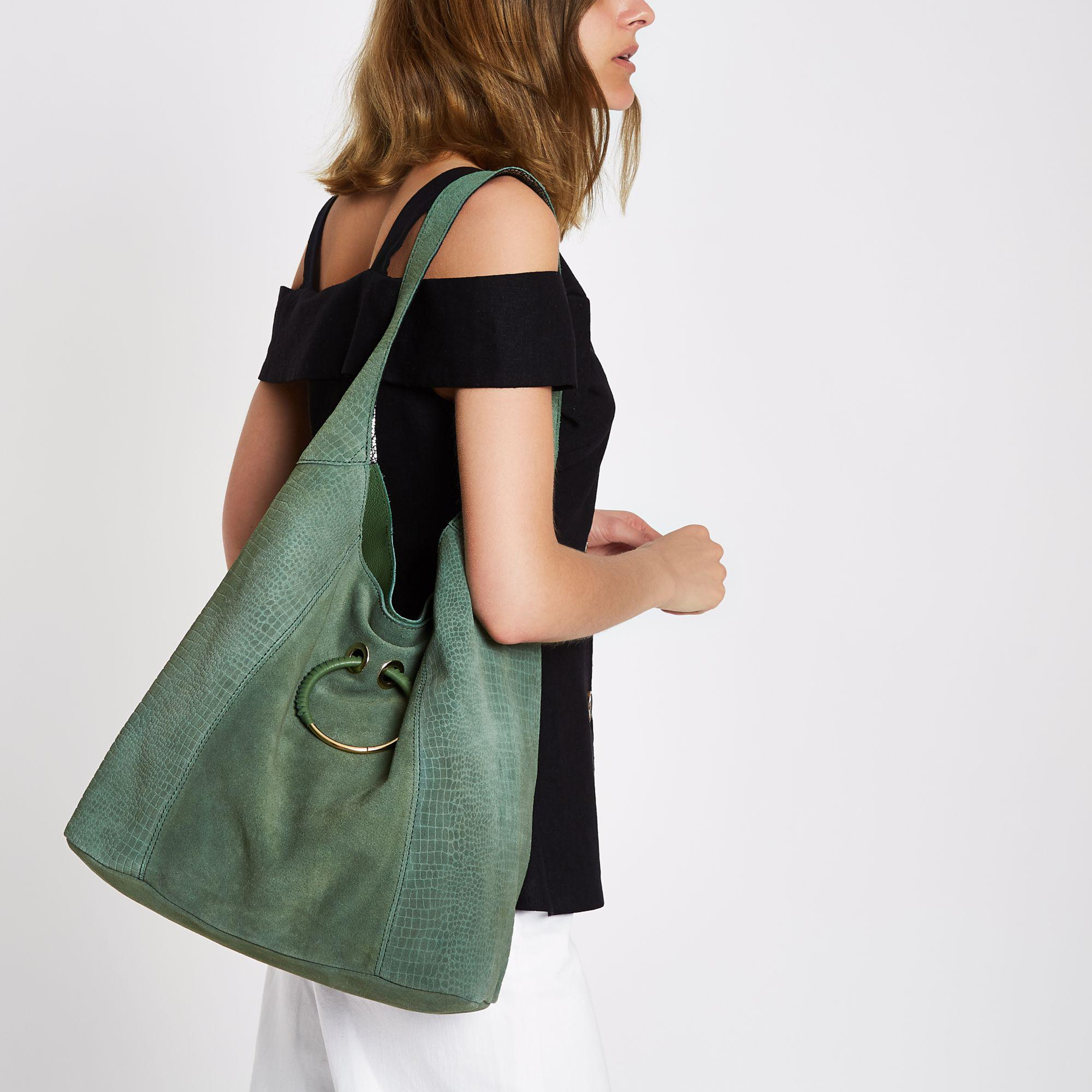 c45ea226e7 Lyst - River Island Dark Leather Metal Ring Slouch Bag in Green