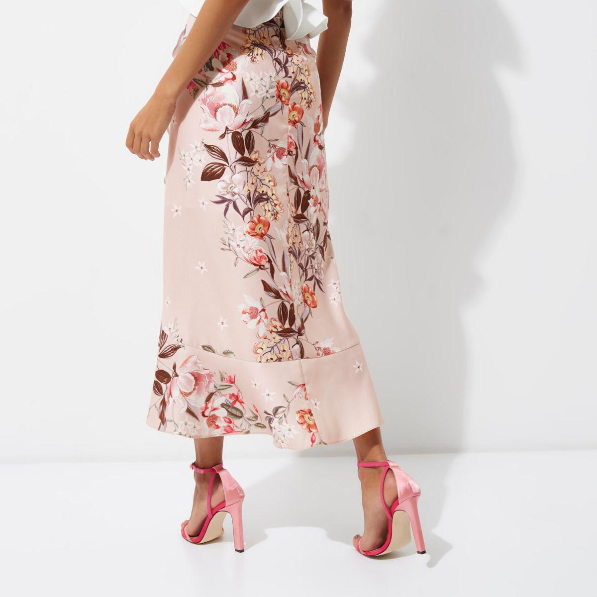 Lyst river island pink floral print frill hem wrap maxi skirt in pink gallery mightylinksfo