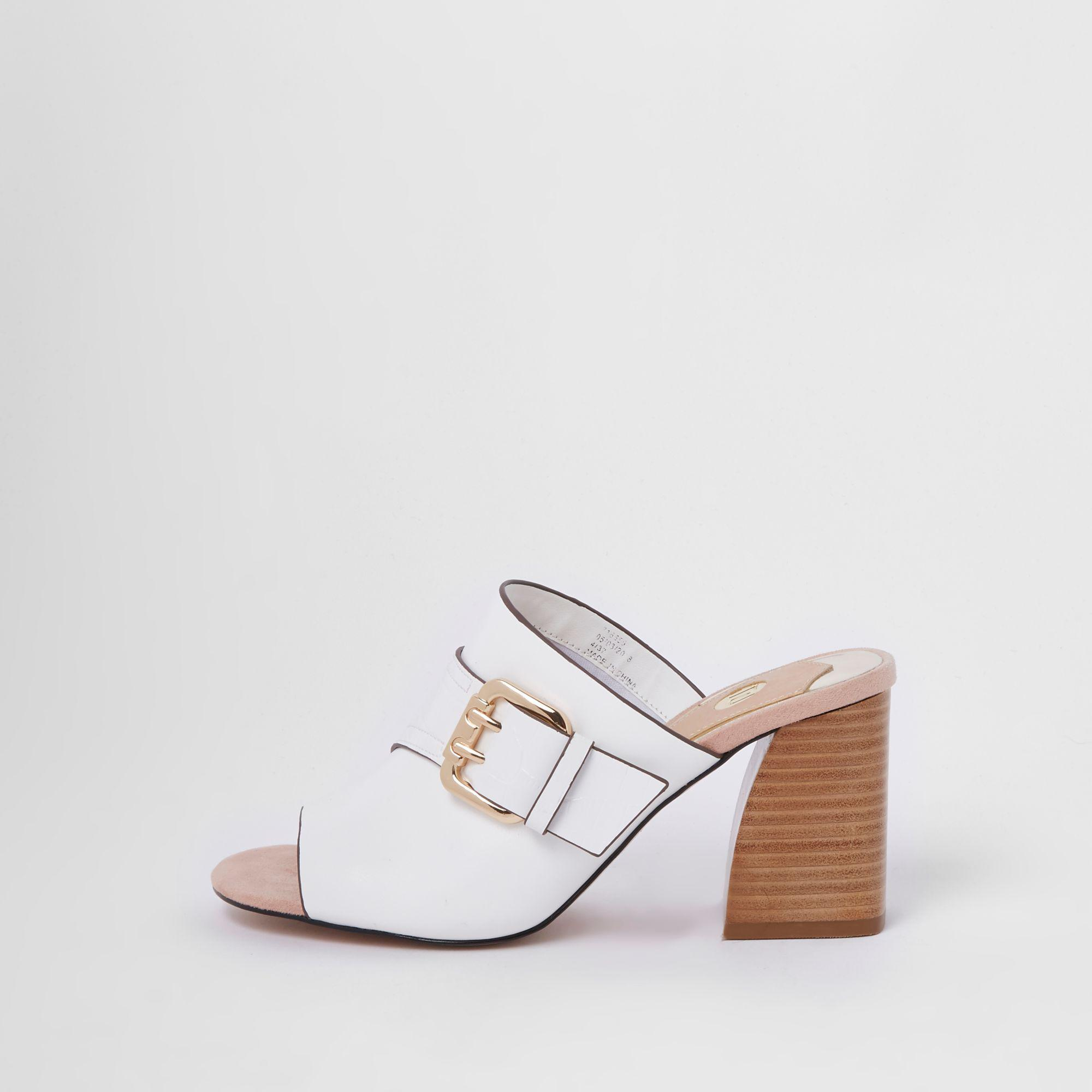 d3b972d7853 River Island White Buckle Wide Fit Block Heel Mule Sandals in White ...