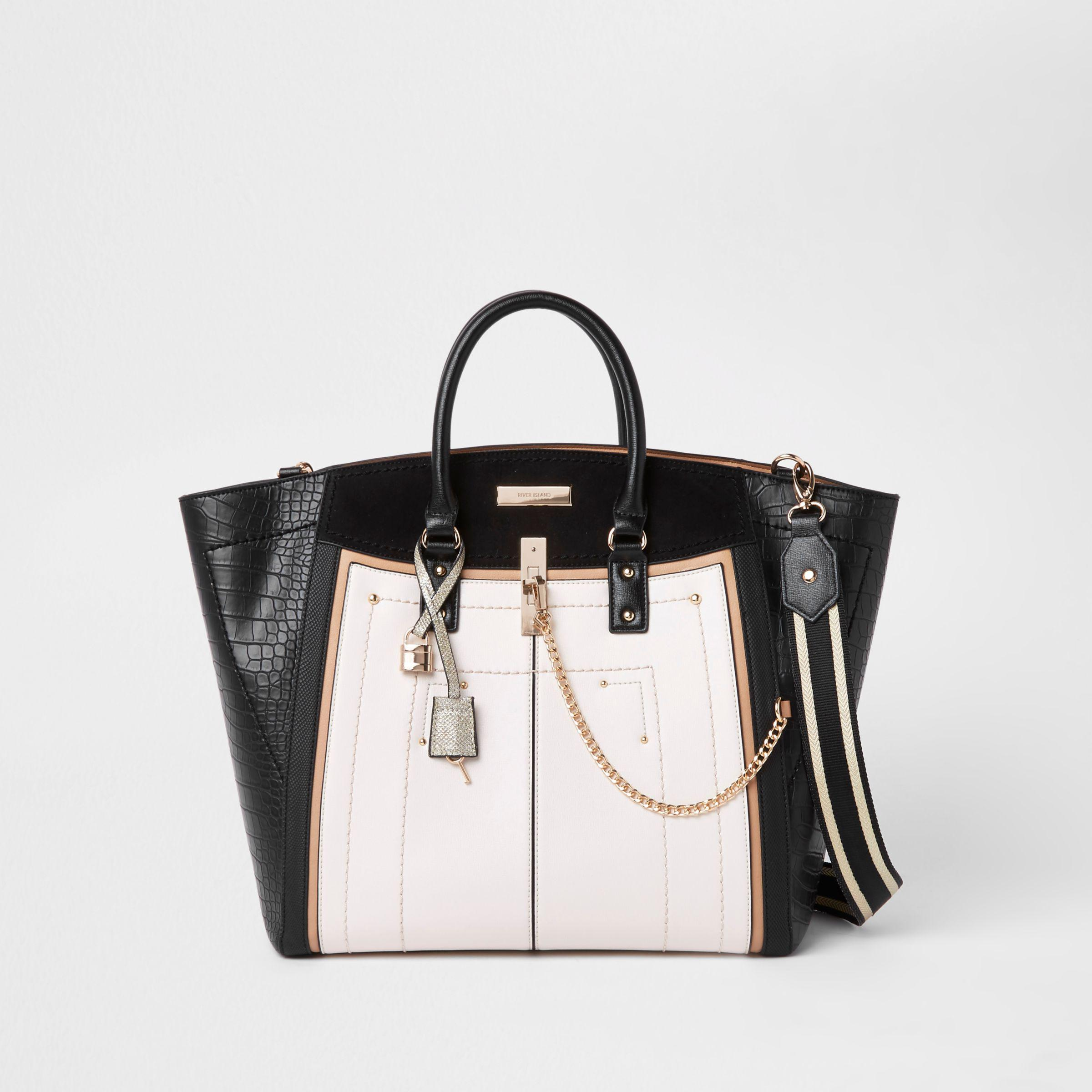e8396d79c6 Lyst - River Island Black Large Winged Contrast Tote Bag in Black