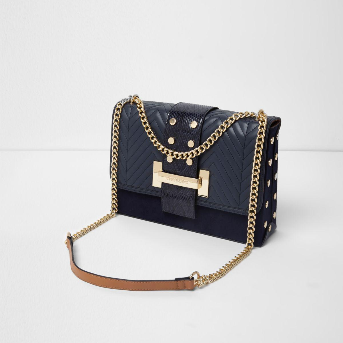 95c116d796 ... Women Joules Tourer Bright Cross Body Bag French Navy 100% Polyurethane  5Z0HC6CZAOXZ0KA buy online 0c256  Lyst - River Island Navy Studded Tab  Underarm ...
