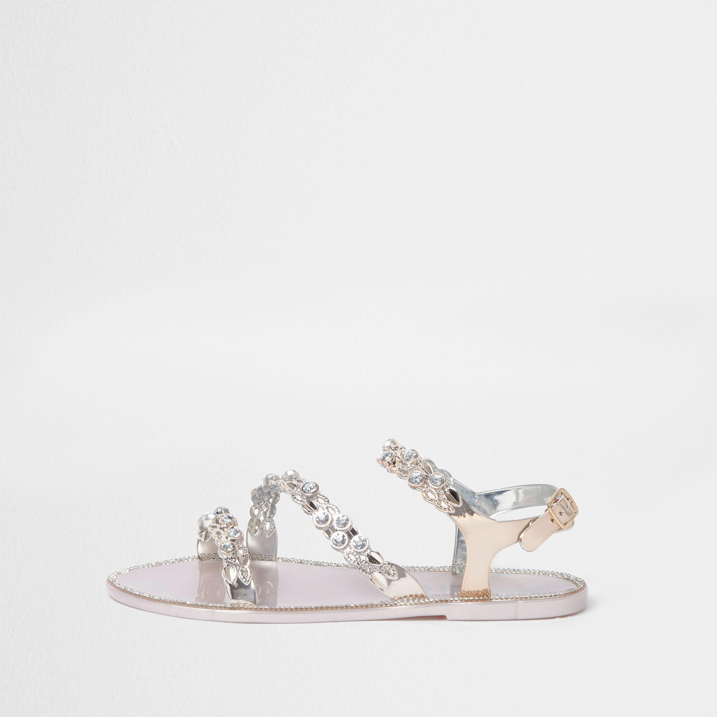 ad9202123 Lyst - River Island Gold Jewel Strap Jelly Sandals in Metallic