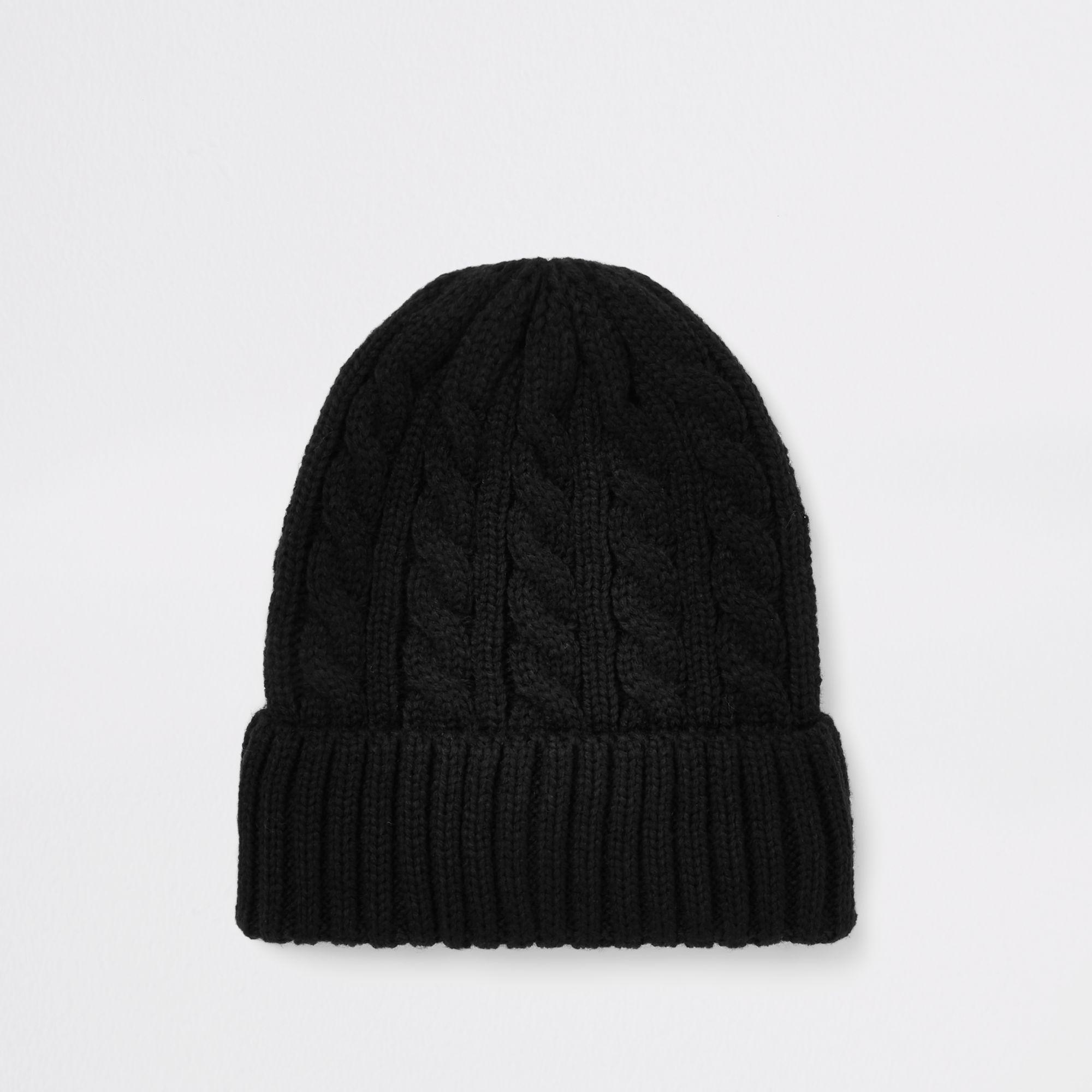 27e0b8d6b04 River Island Cable Knit Fisherman Beanie Hat in Black for Men - Lyst