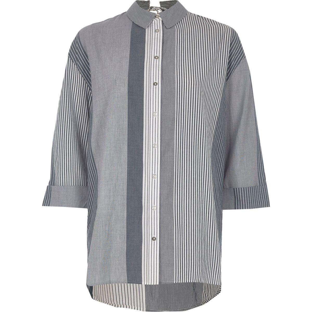 Lyst river island navy stripe tie back shirt navy stripe for How to make a tie back shirt