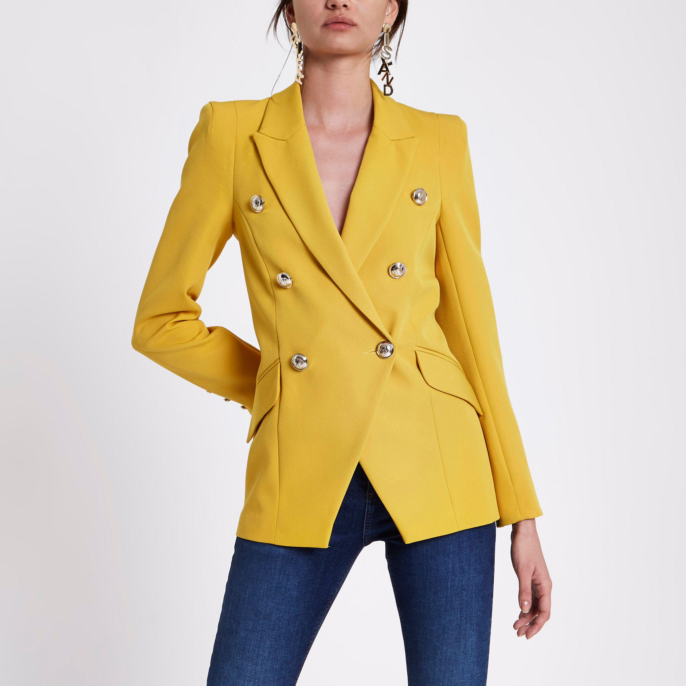 0b976d853e1 River Island Double Breasted Tux Jacket in Yellow - Lyst