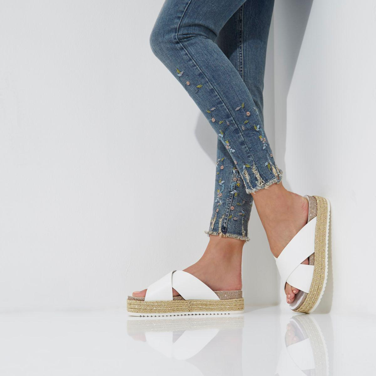 38a0a6587c5 Lyst - River Island White Cross Strap Flatform Espadrilles in White