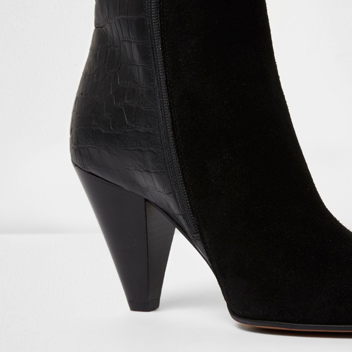 Black Suede Lace Up Boots River Island