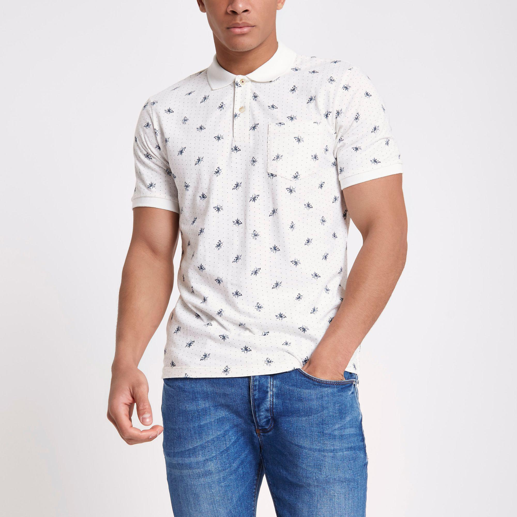 River Island Jack And Jones White Floral Print Polo Shirt in White ... e15533708b2