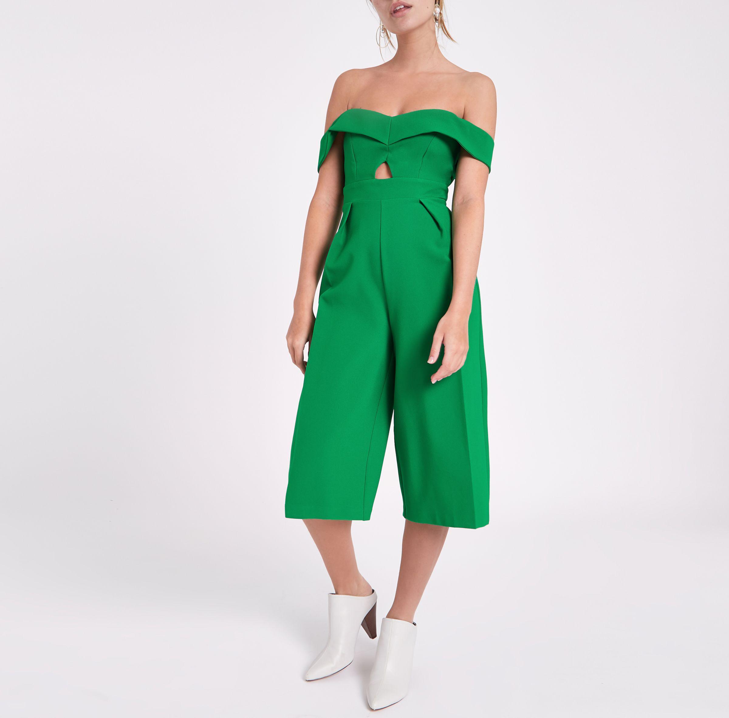 8c9015e22a1a Lyst - River Island Petite Bardot Cut Out Culotte Jumpsuit in Green