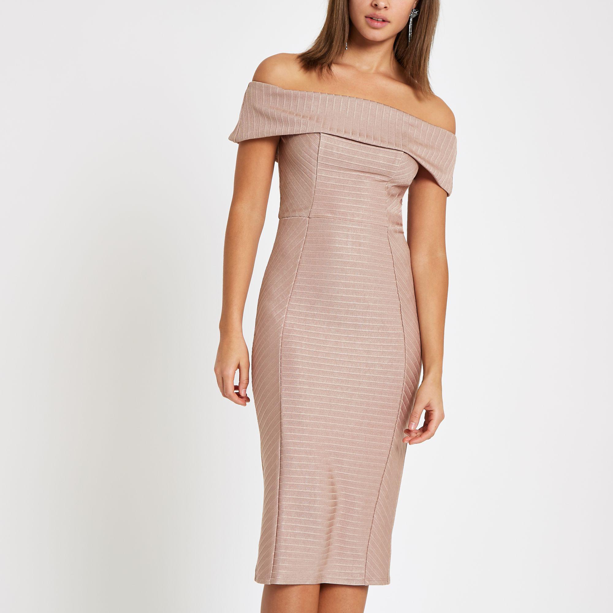 457d8980ed752 Lyst - River Island Light Pink Bardot Bandage Mini Bodycon Dress in Pink
