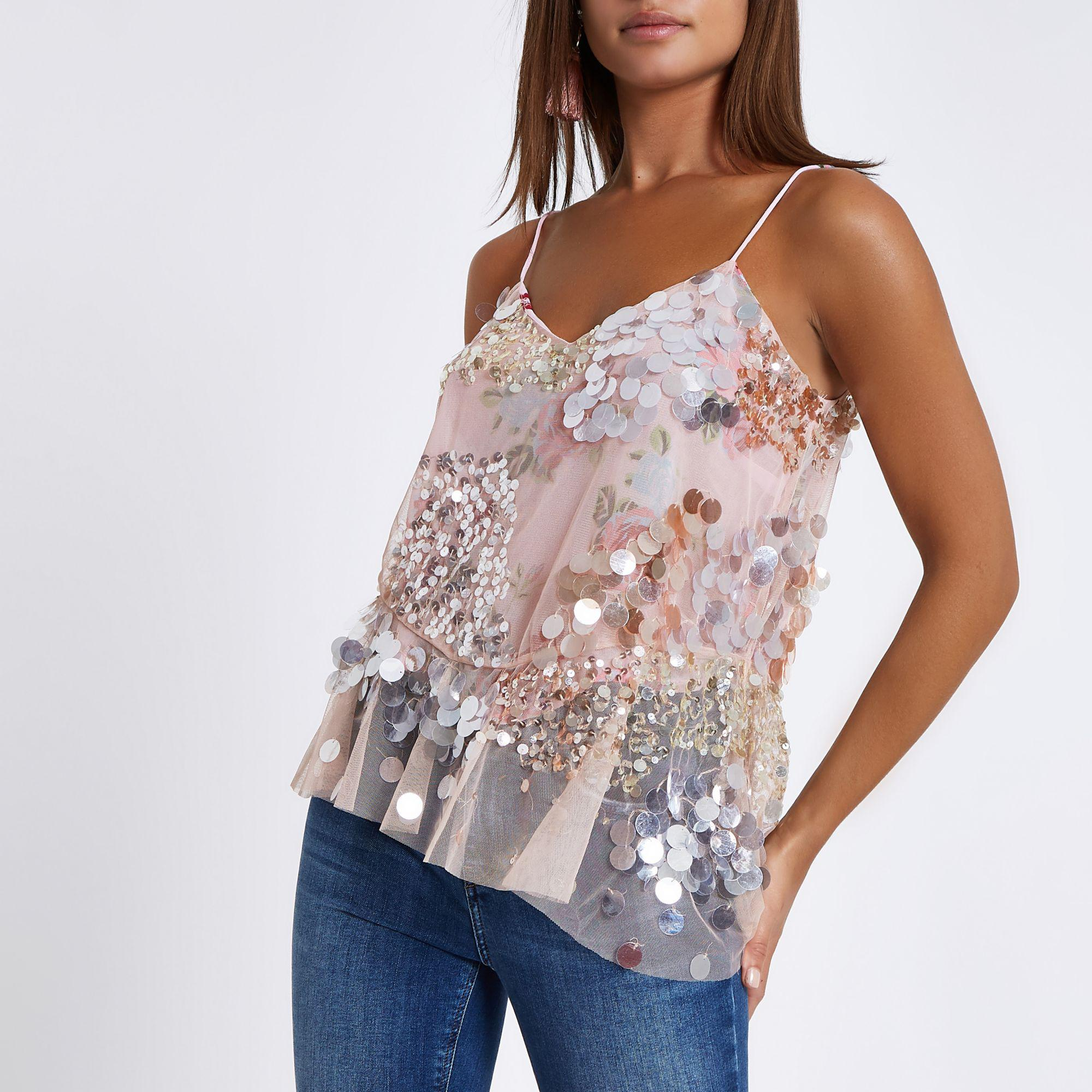 63c2c73aa3f6c9 River Island Sequin Floral Embellished Cami Top in Pink - Lyst