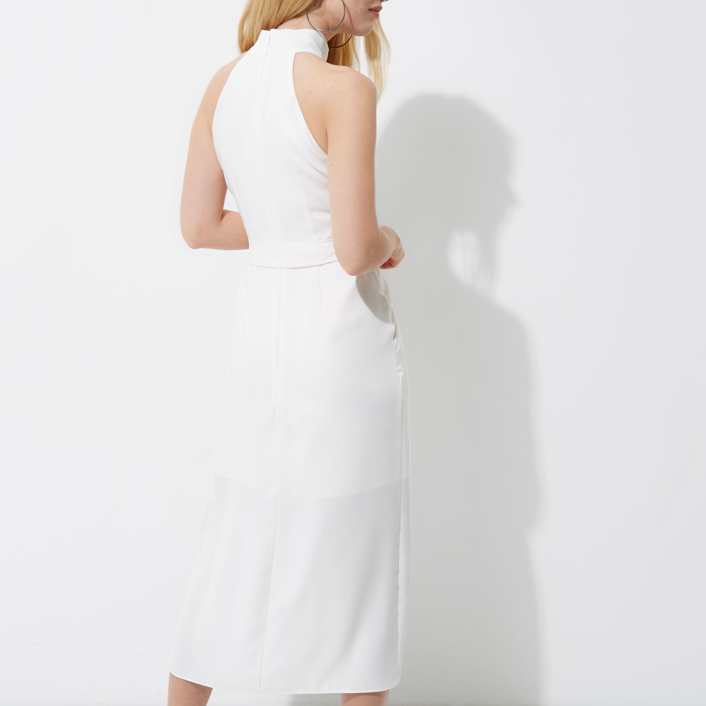 a85b594404b River Island White High Neck Tie Waist Midi Dress in White - Lyst