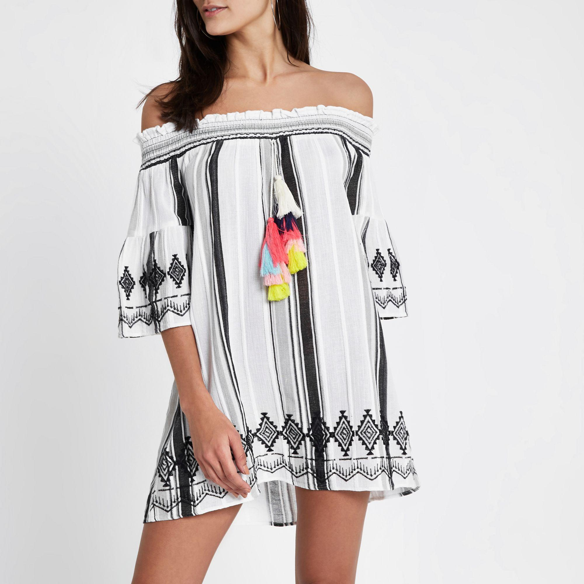 982eda9443 River Island Stripe Tassel Bardot Beach Dress in White - Lyst