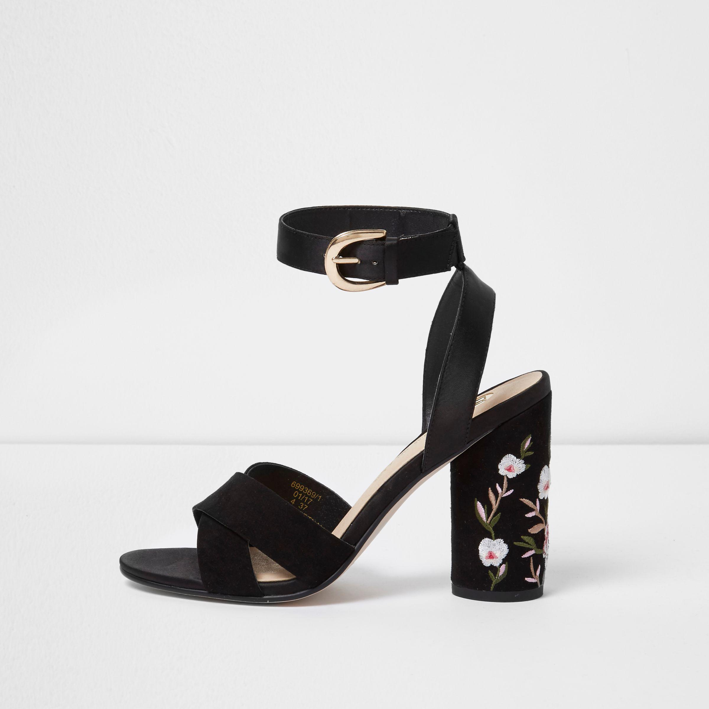 057539c4a Lyst - River Island Black Floral Embroidered Block Heel Sandals in Black