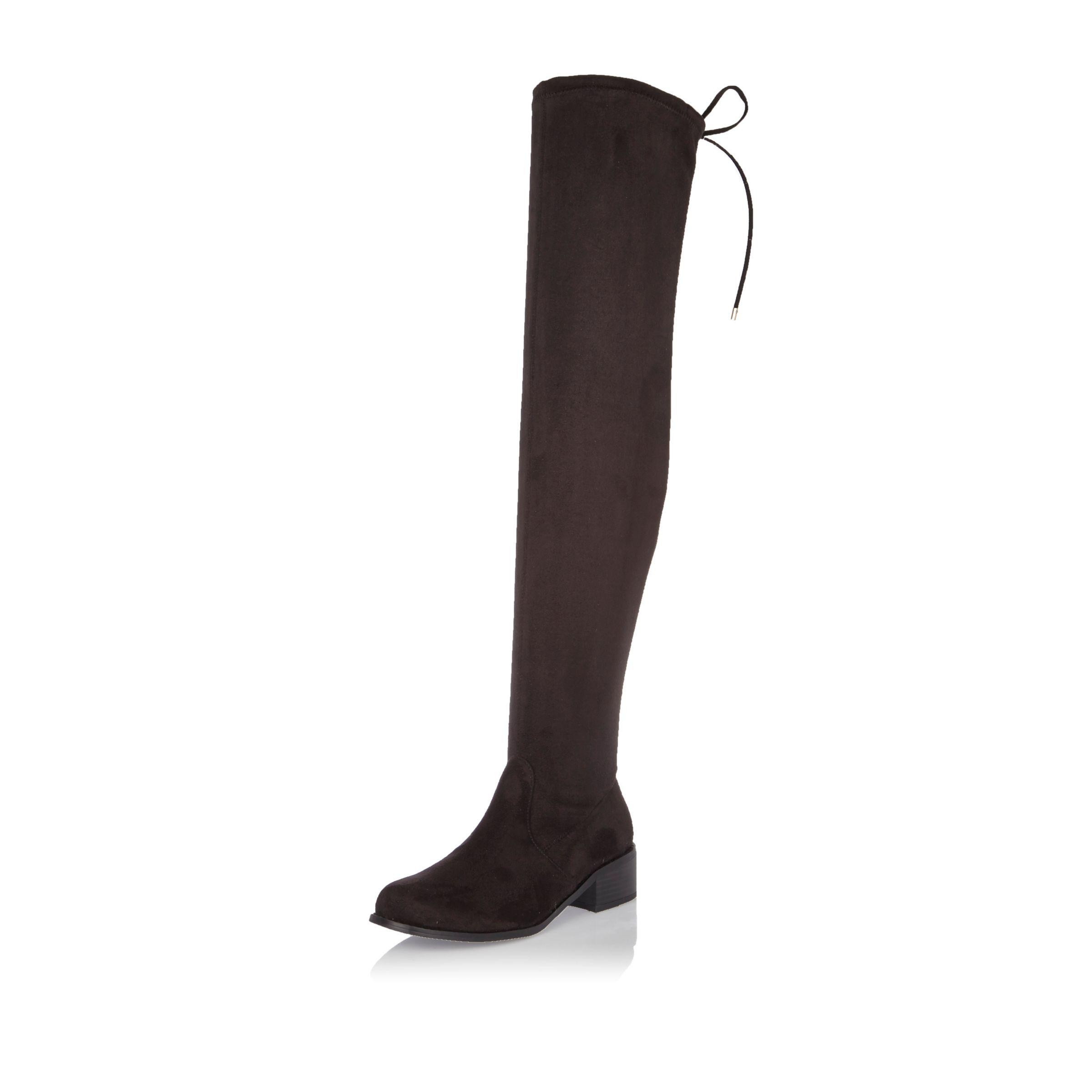 65f7a395fd1 Lyst - River Island Black Over The Knee Flat Boots in Black