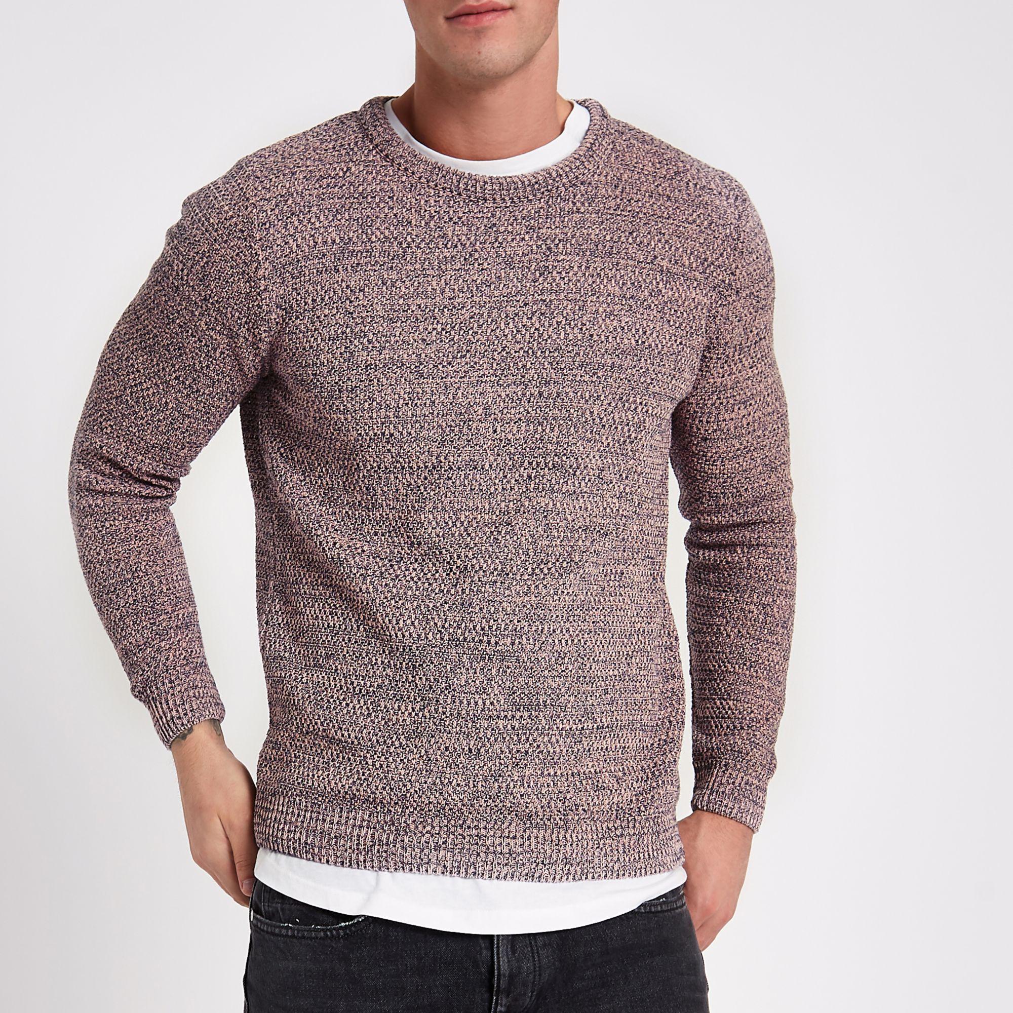 9d243461165 River Island Textured Knit Slim Fit Crew Neck Jumper in Pink for Men ...