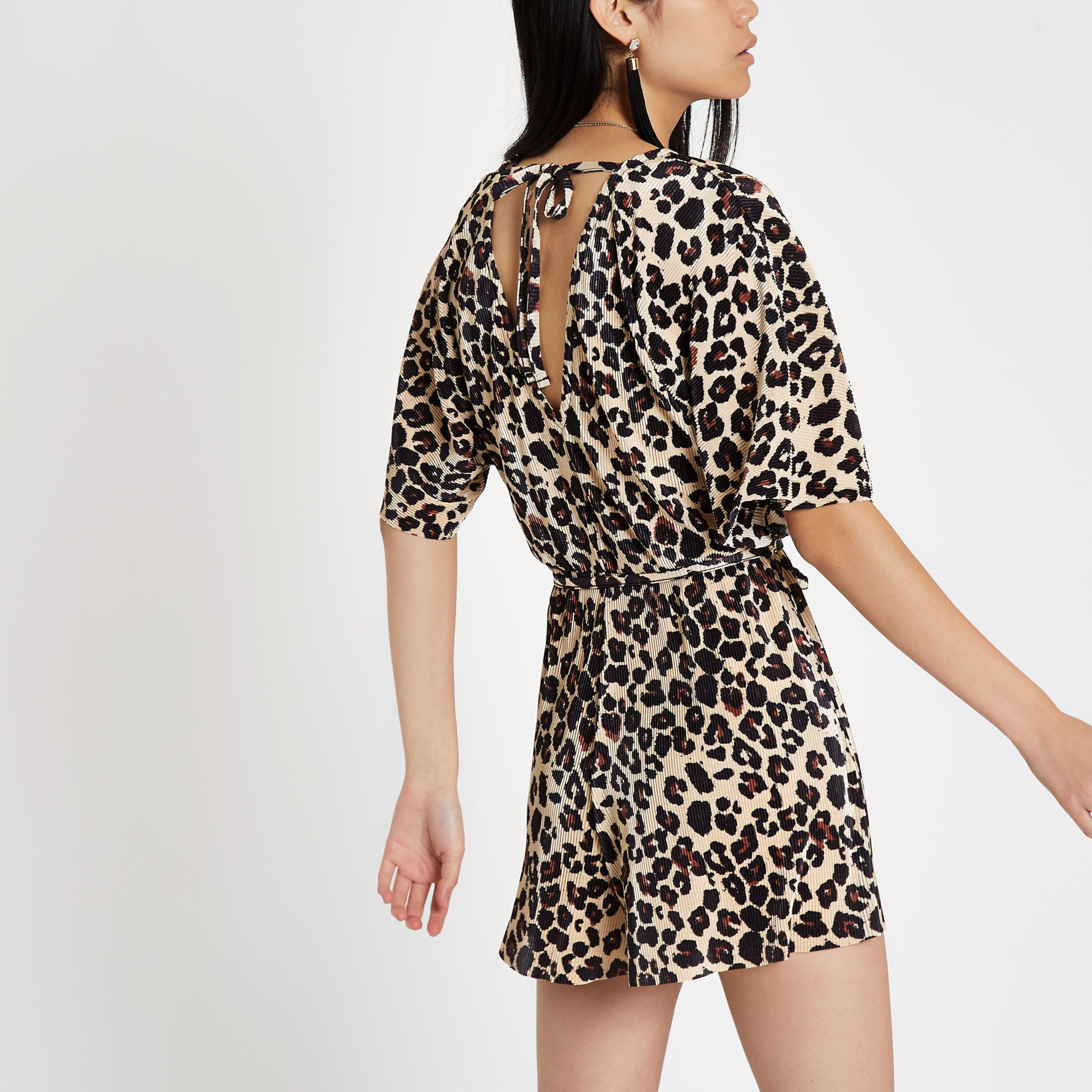 Lyst - River Island Brown Leopard Print Plisse Belted Playsuit in Brown 5893f92b1
