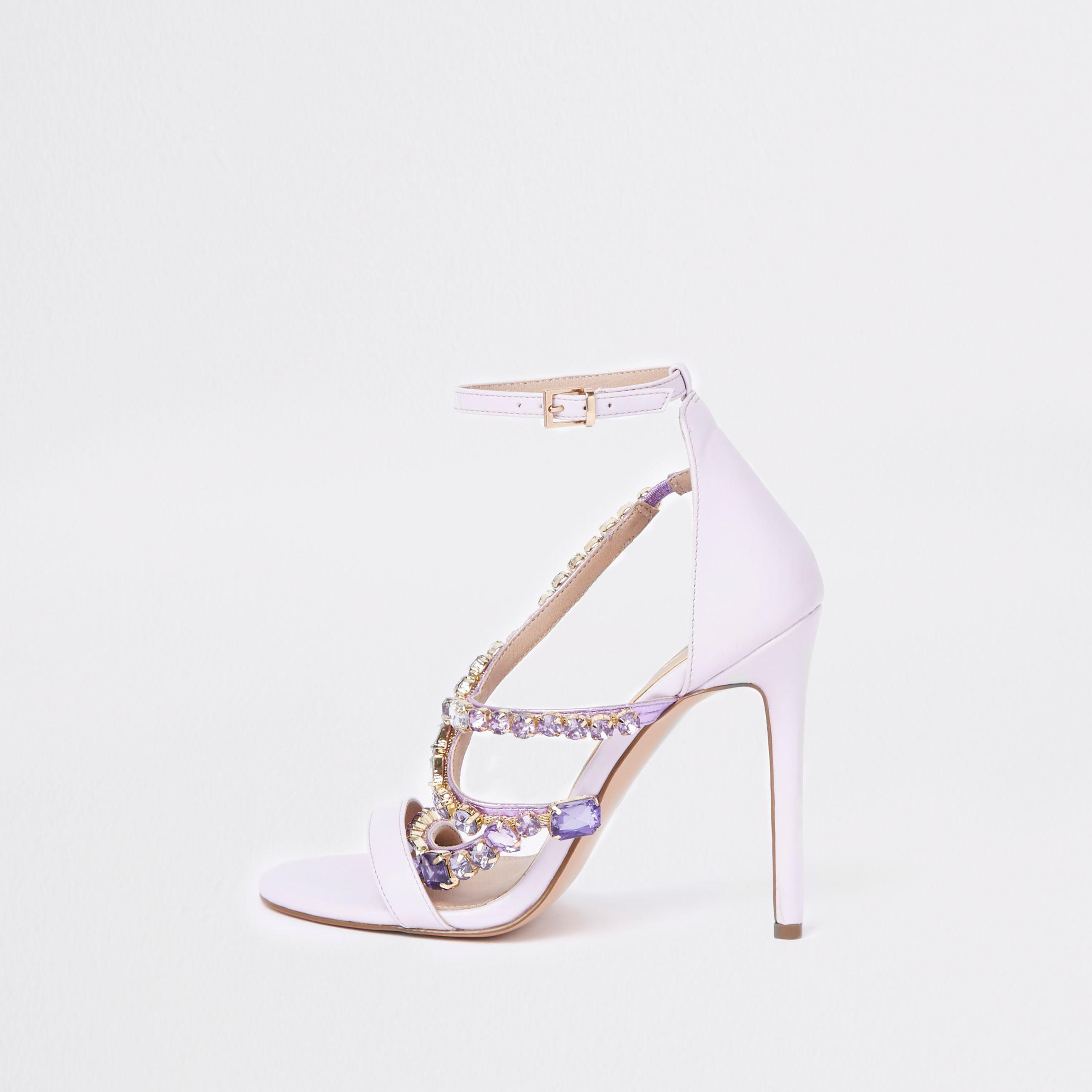 River Island Womens Lilac jewel barely there sandals 8ye1z