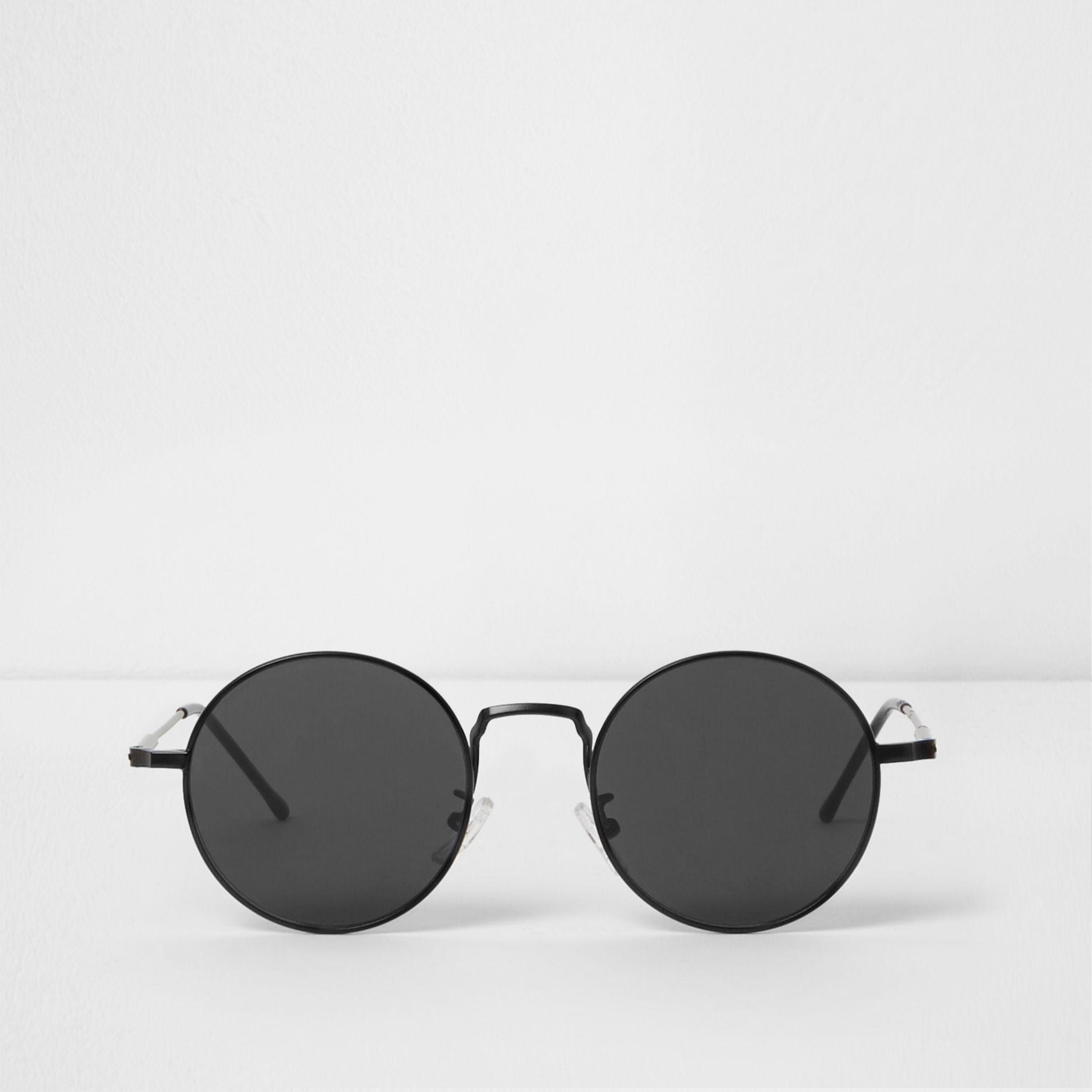 c30fb9b7af River Island Round Flat Lenses Retro Sunglasses in Black for Men - Lyst