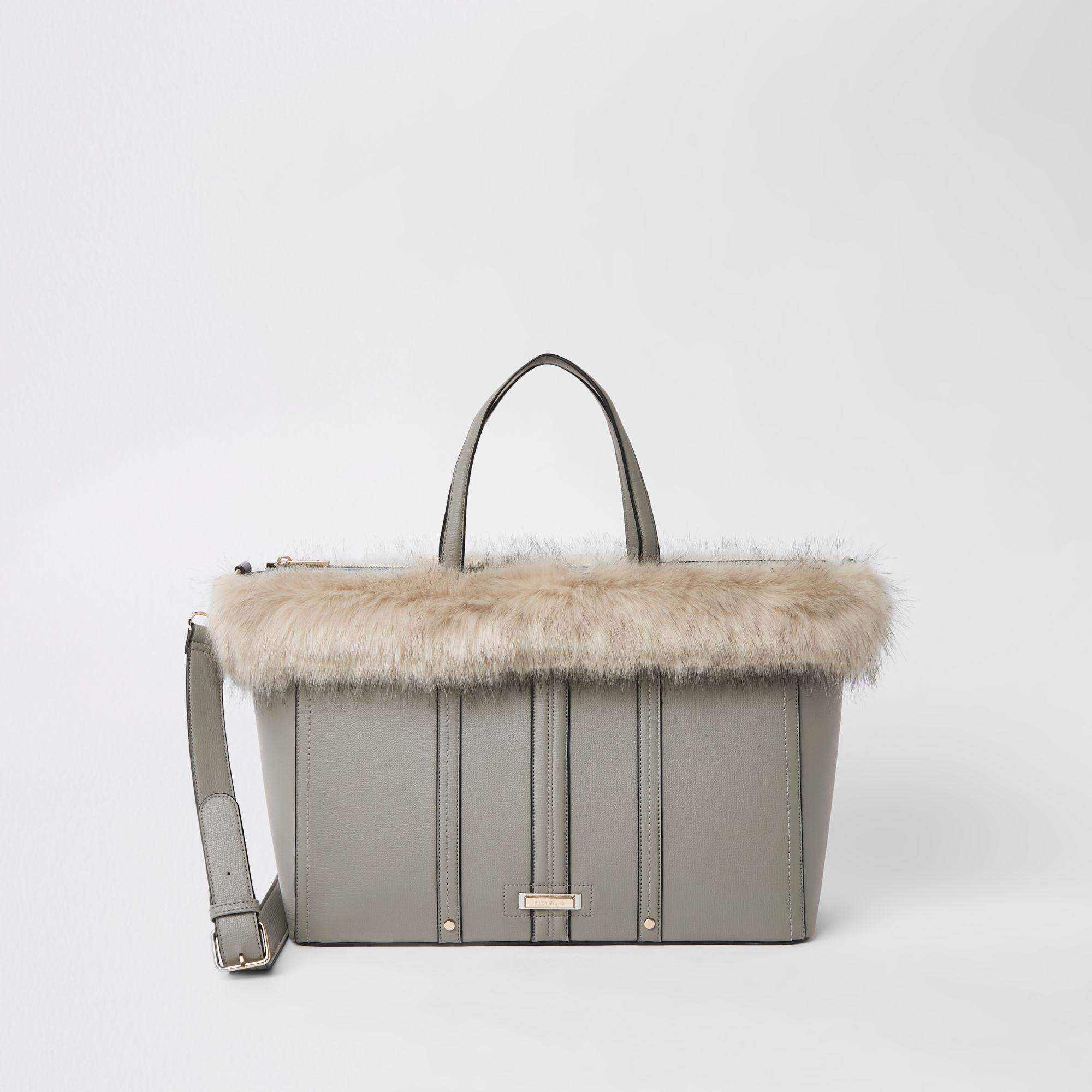 d43301c915ac Lyst - River Island Light Grey Faux Fur Trim Winged Tote Bag in Gray