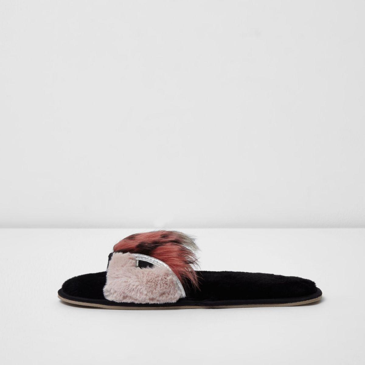River Island Pink Faux Fur Monster Slider Slippers In Pink