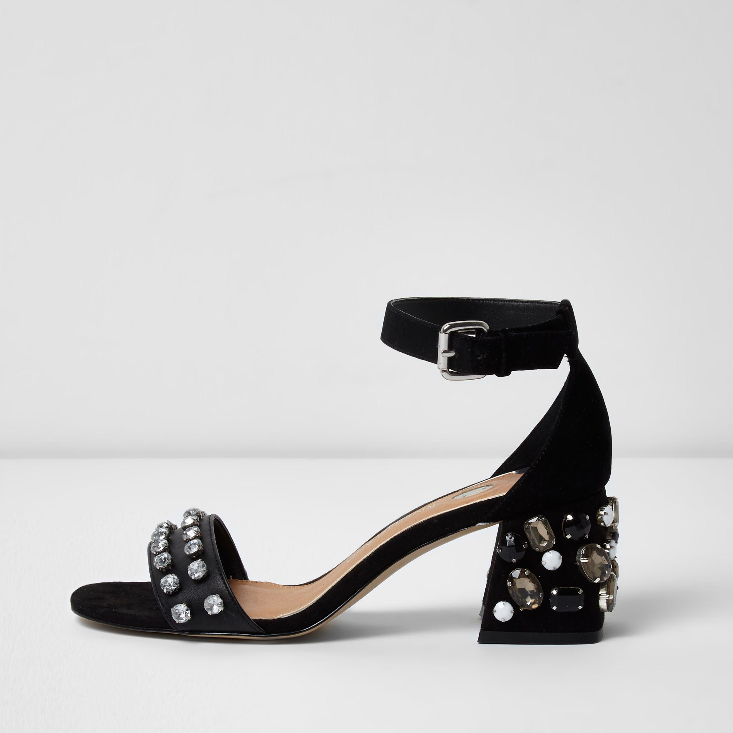 c6b1824e7a6 River Island Black Diamante Embellished Block Heel Sandals in Black ...