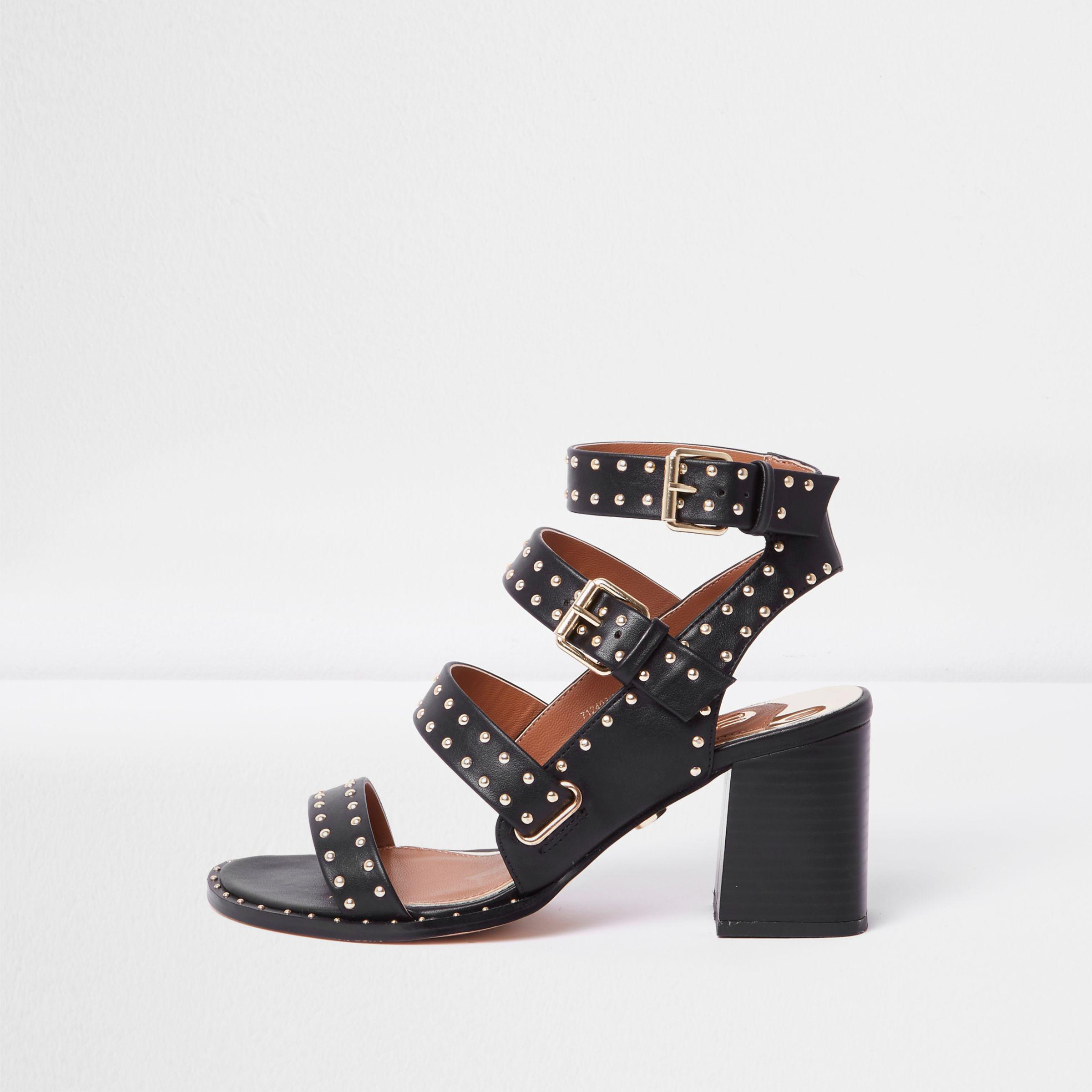 63727e2f992f Lyst - River Island Black Studded Strappy Block Heel Sandals in Black