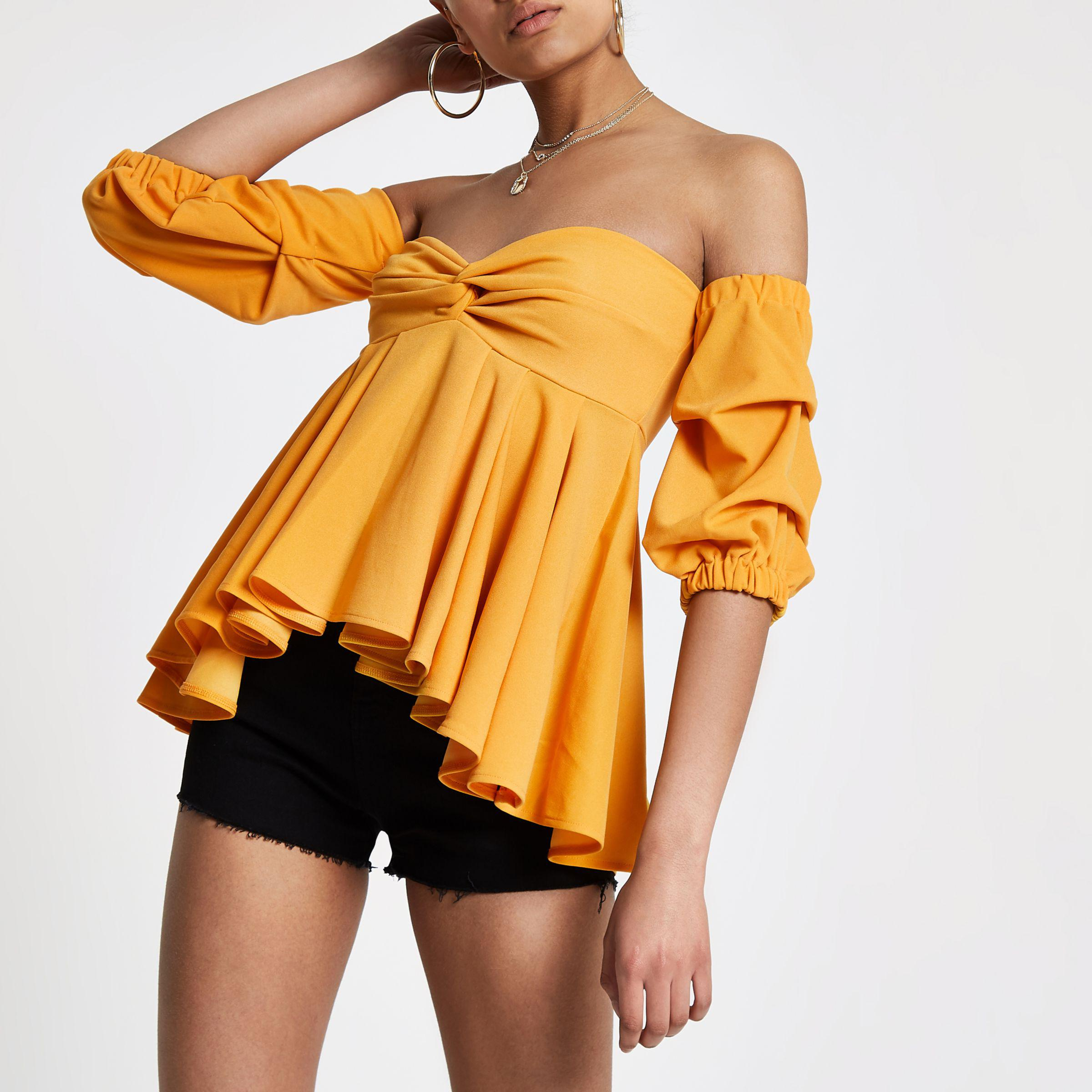 Clearance Latest Collections Womens Yellow puff sleeve peplum bardot top River Island Clearance 2018 New With Mastercard For Sale Pre Order Online UwYNP