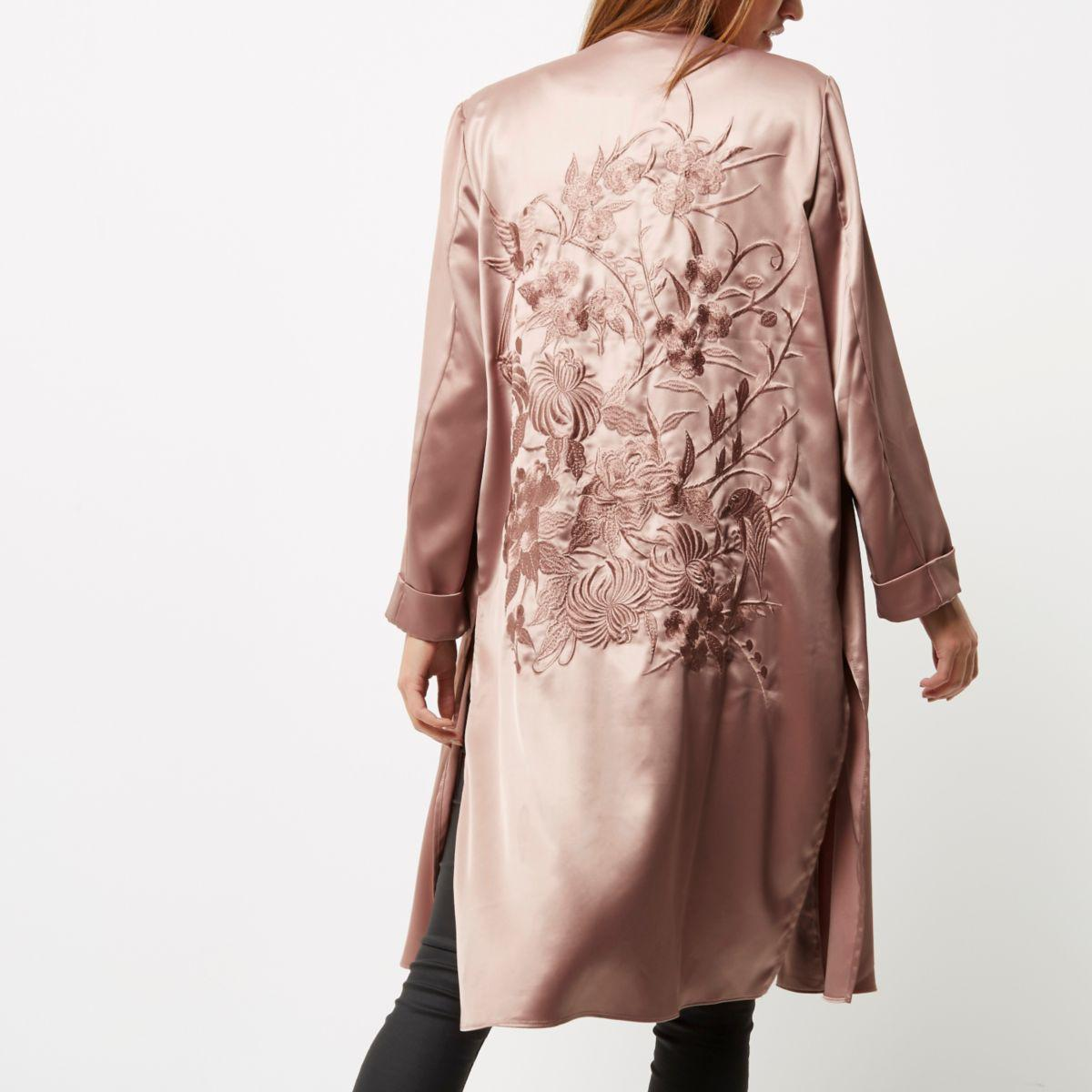 River Island Pink Embroidered Duster Jacket