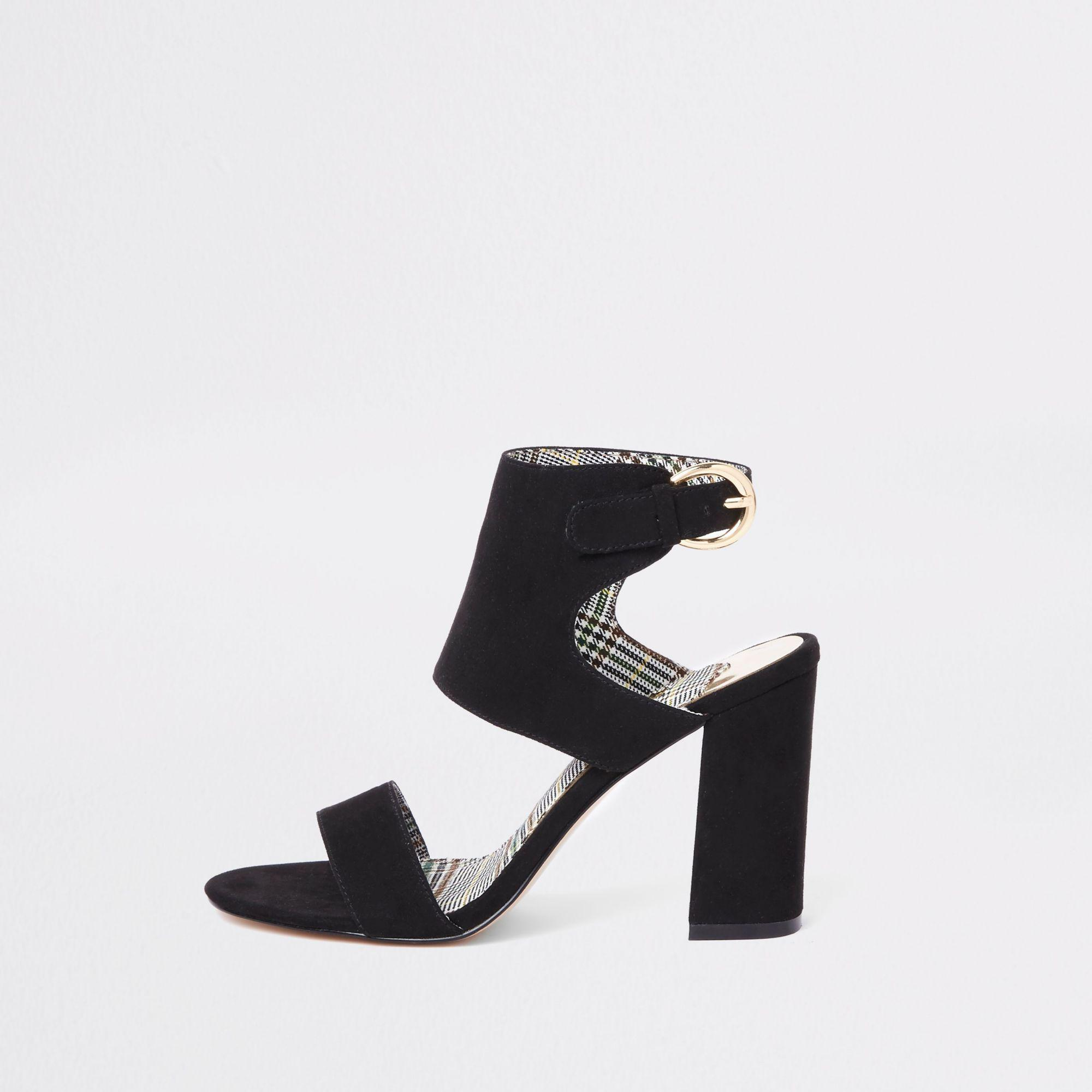 ad027ccf189 River Island Black Wide Fit Faux Suede Block Heel Sandals in Black ...