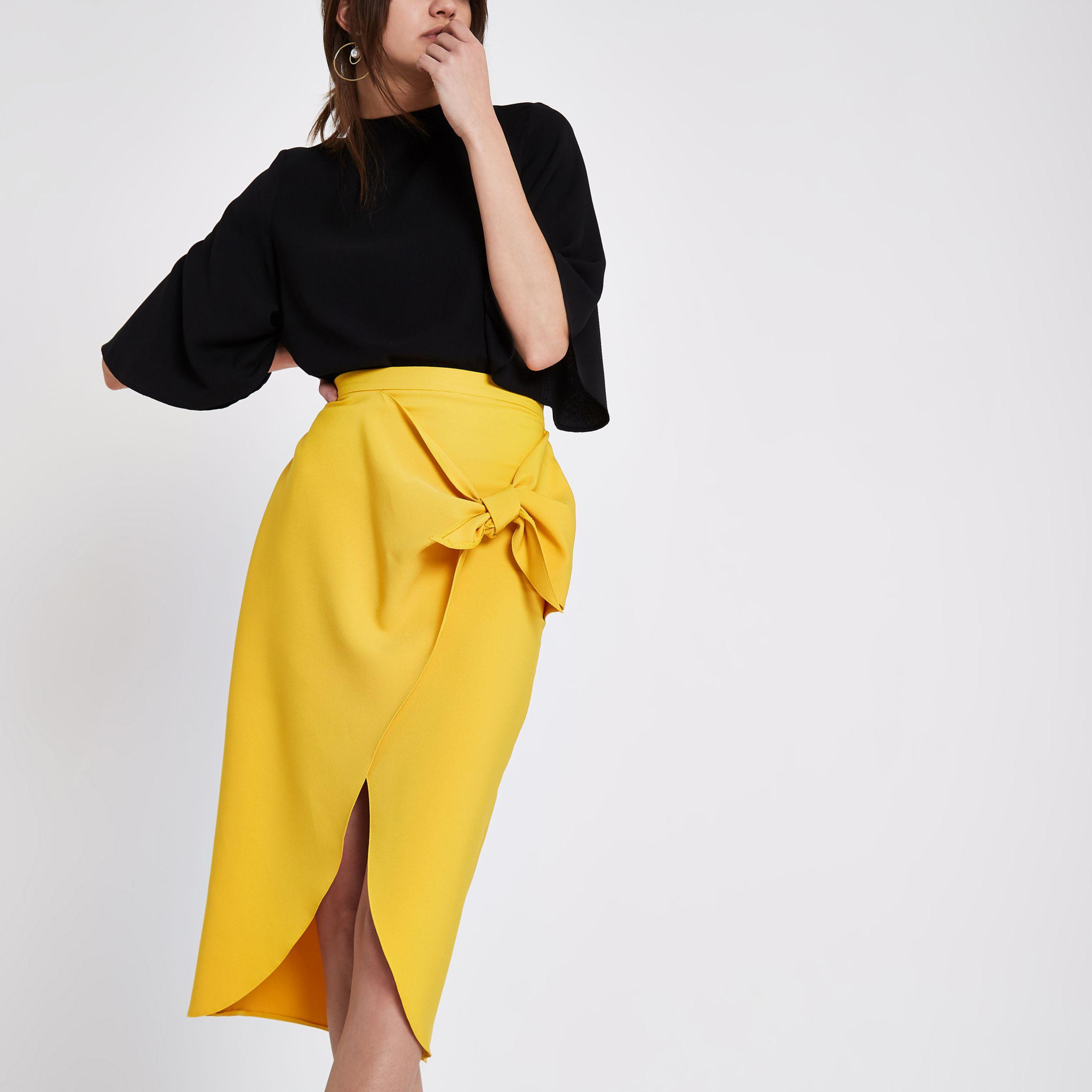 0eea6ccd3aba River Island Mustard Yellow Tie Front Pencil Skirt in Yellow - Lyst