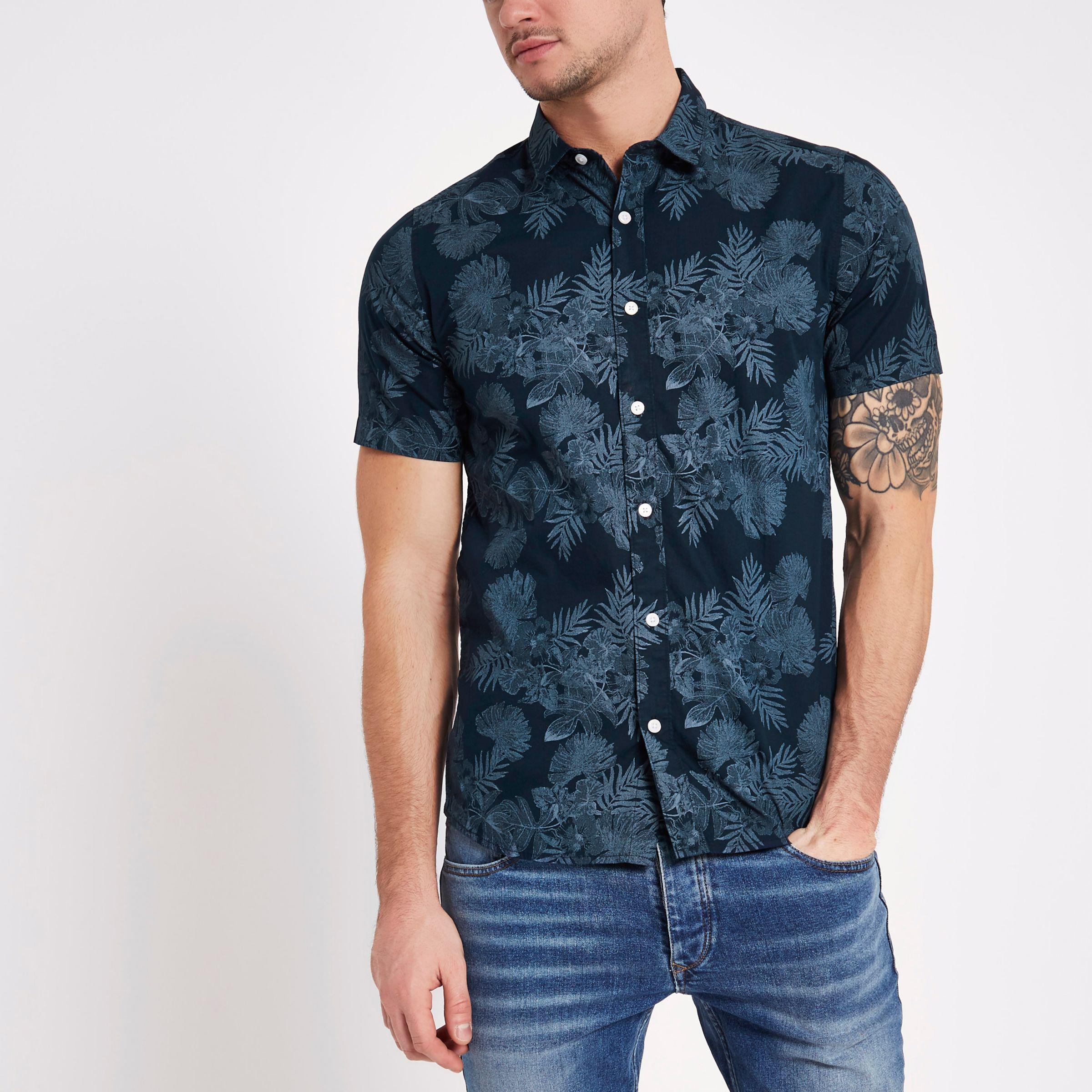 River island only sons navy floral slim fit shirt in for Navy slim fit shirt